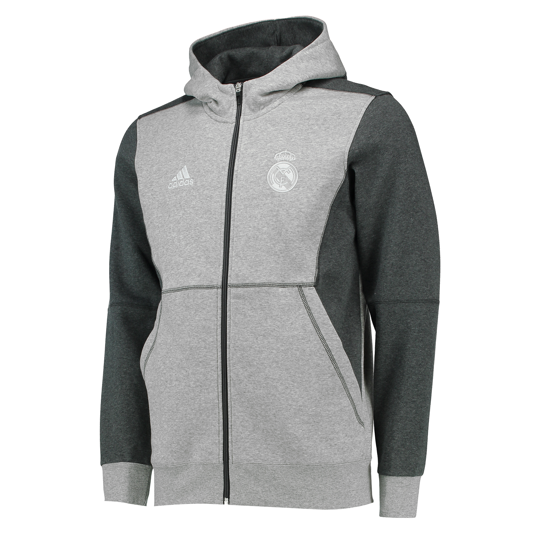 Sweat à capuche avec fermeture éclair intégrale Real Madrid– Gris