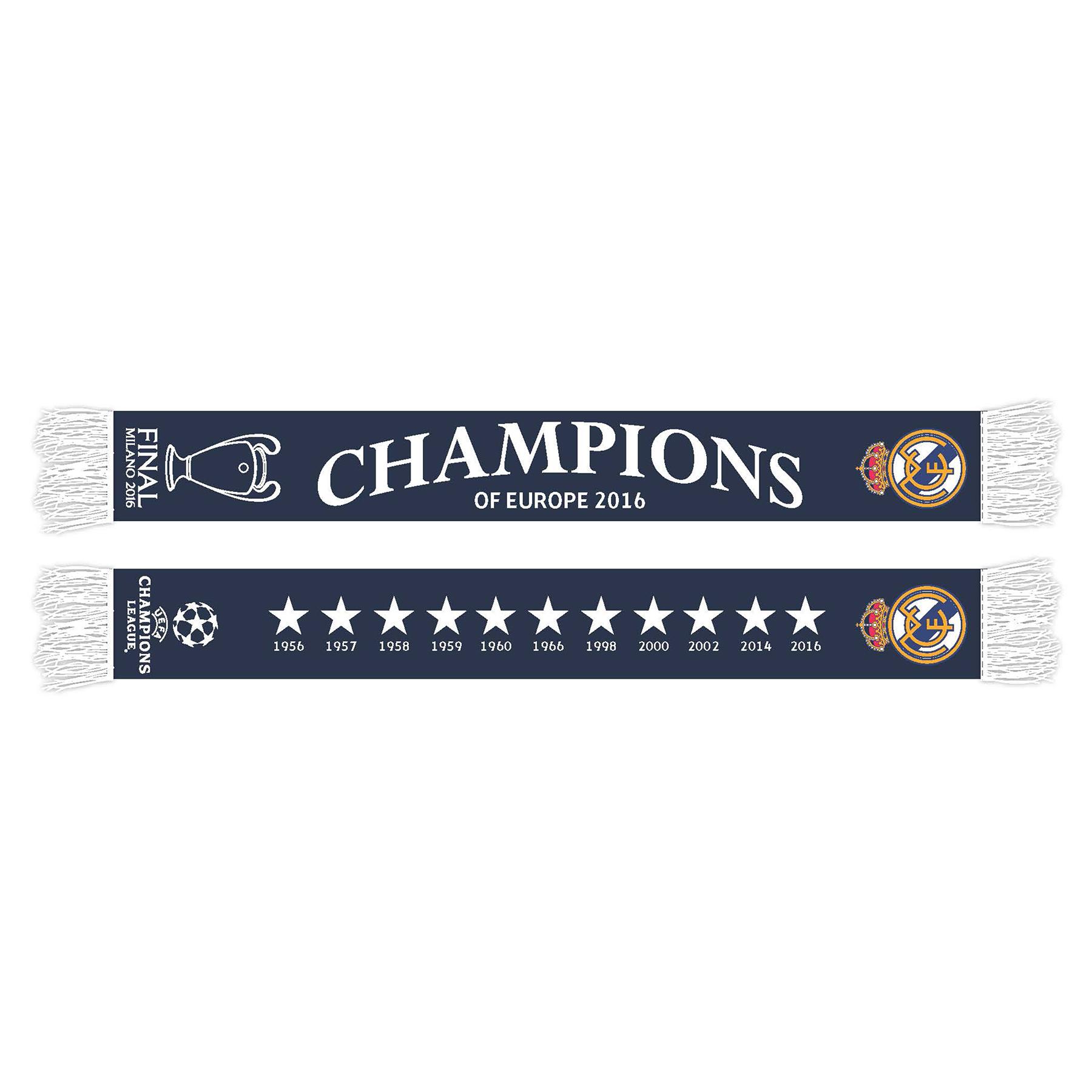 Écharpe Real Madrid UEFA Champions League de la victoire2016 - Bleu marine - Adulte