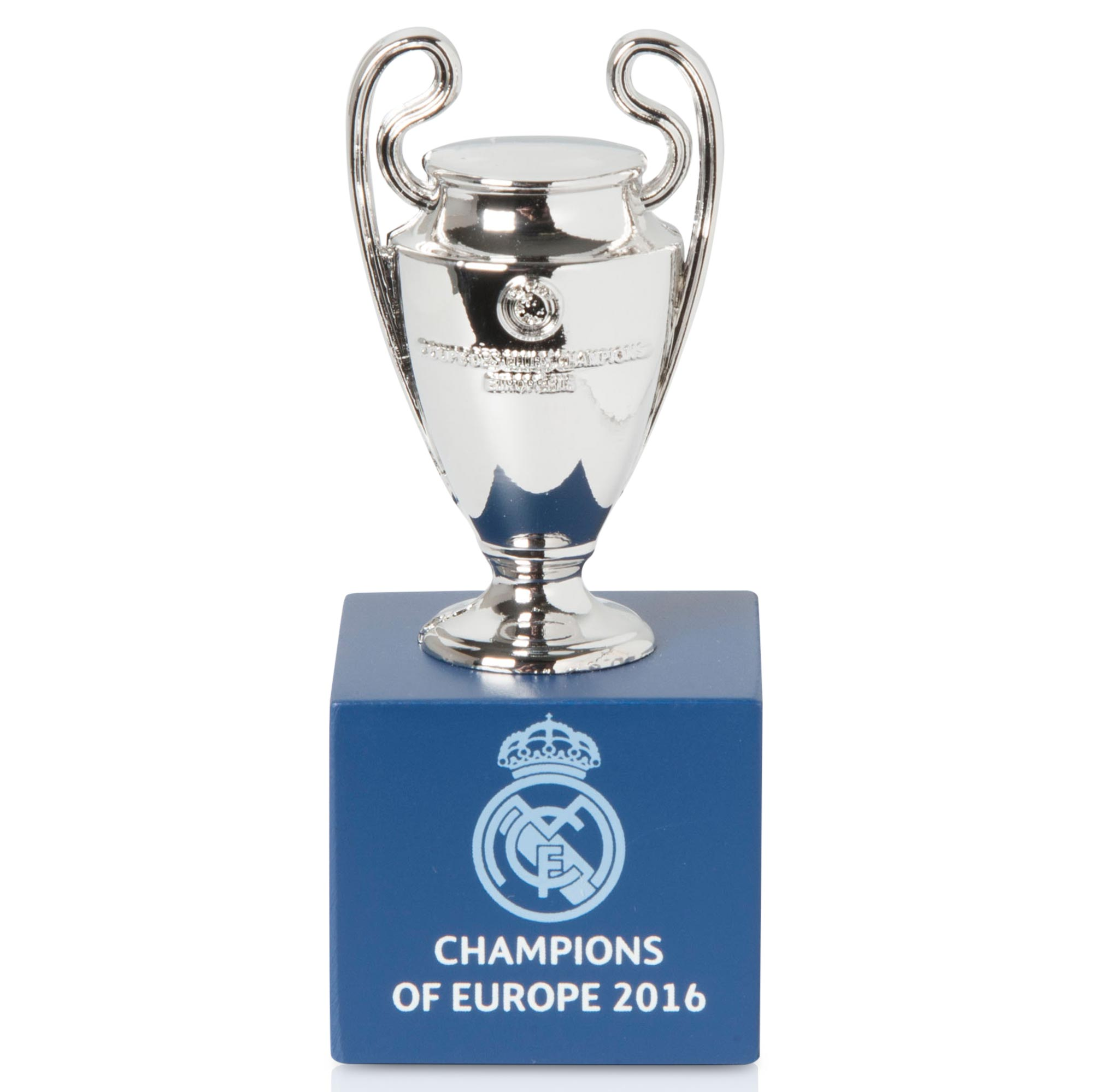 Image of Real Madrid 2016 Champions of Europe Trophy on Wooden Pedestal - 45mm