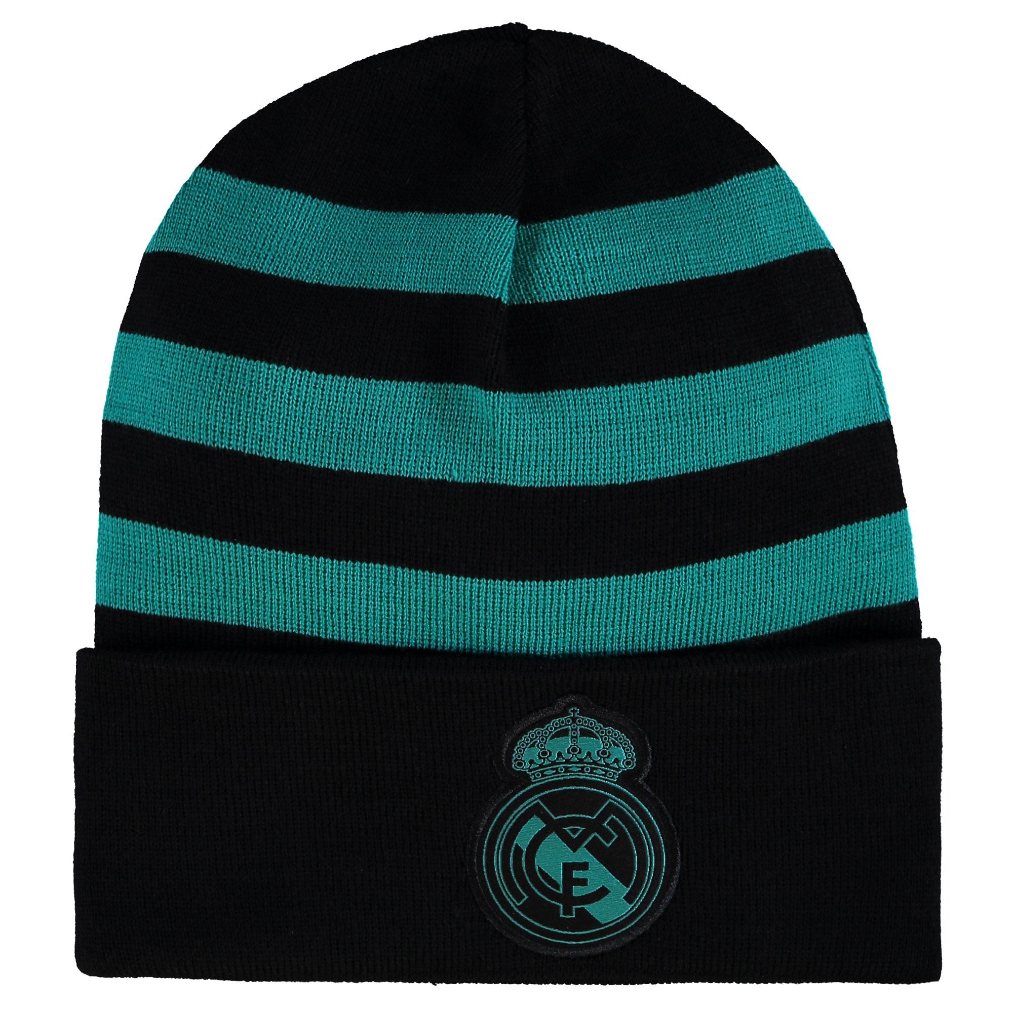 Image of Real Madrid 3 Stripe Woolie Hat - Black
