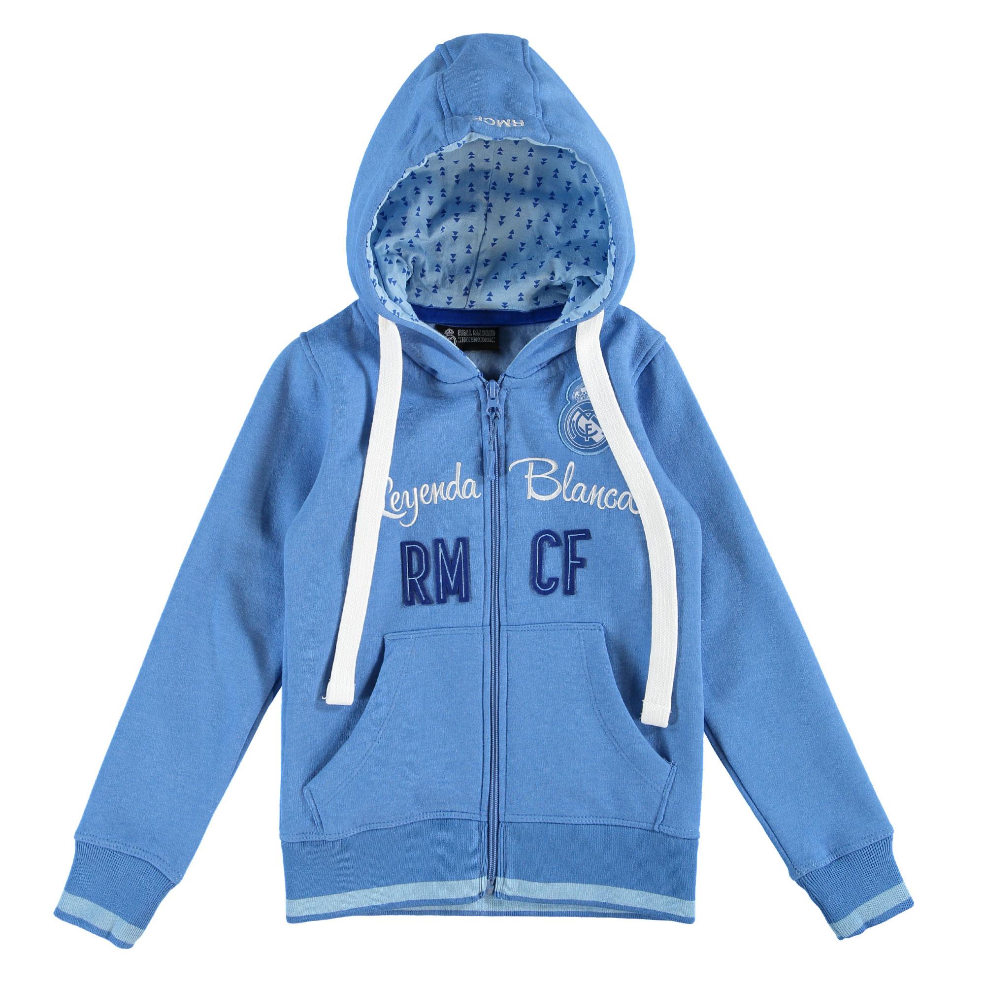 Prendas Deportivas Rogers SL / Sudadera con capucha con cremallera completa y aplique Real Madrid - Azul real - Niña