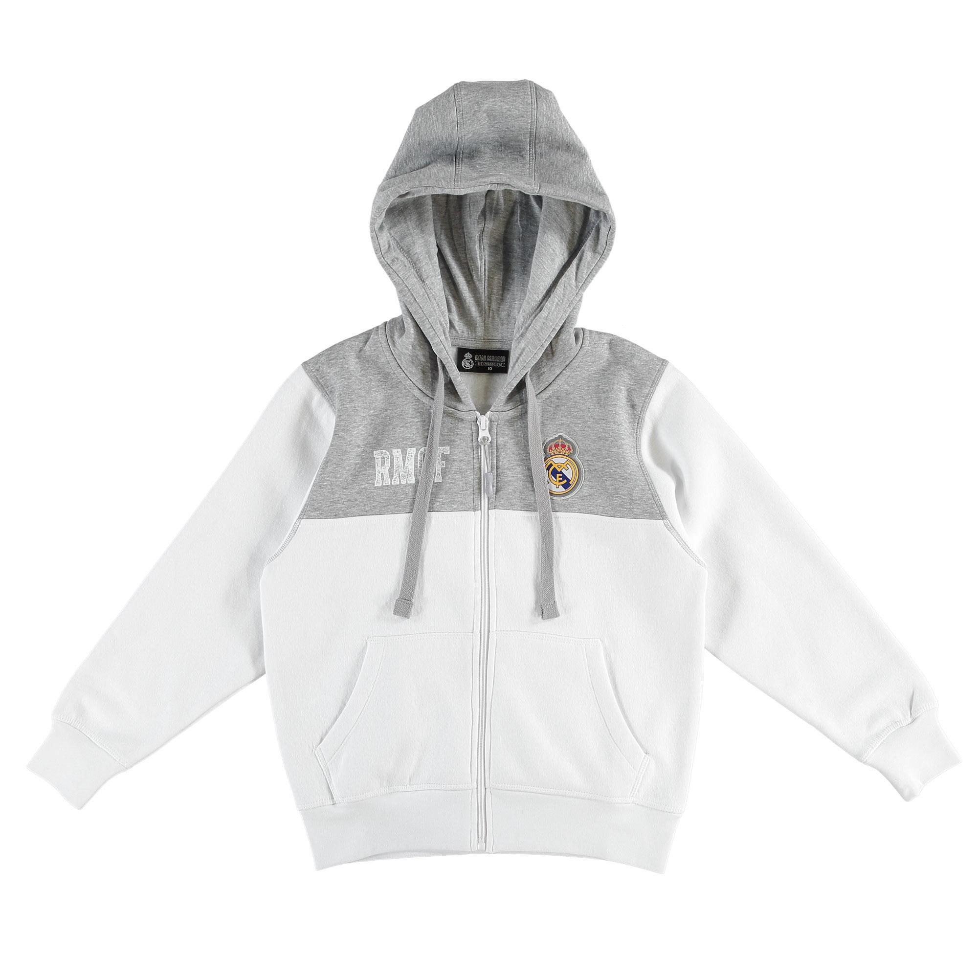Prendas Deportivas Rogers SL / Sudadera con capucha con cremallera completa Real Madrid - Blanco/Gris - Chico