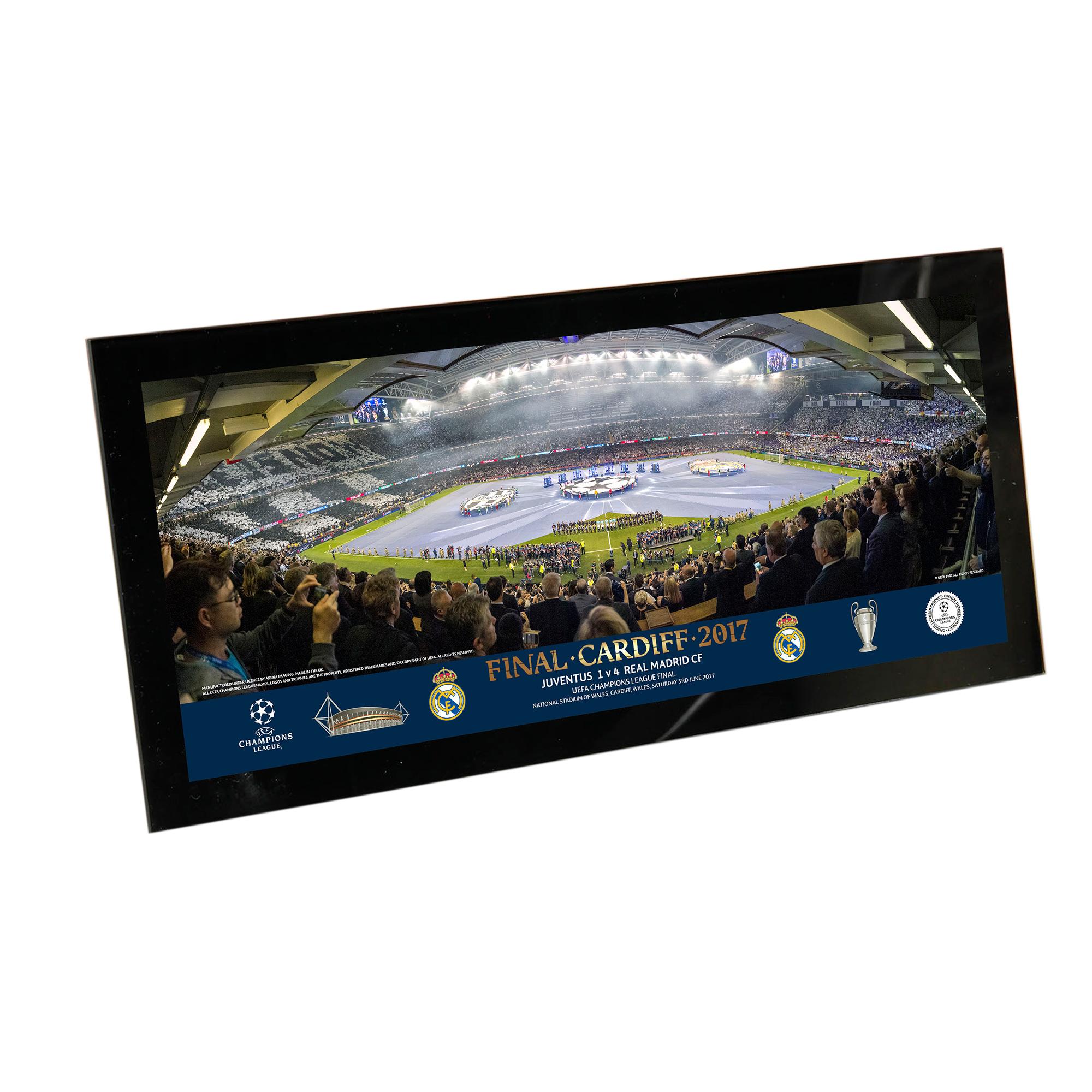 Club Branded / Lámina con cristal para escritorio de la final de la Liga de Campeones de la UEFA de 2017 del Real Madrid de 33,02x15,24cm