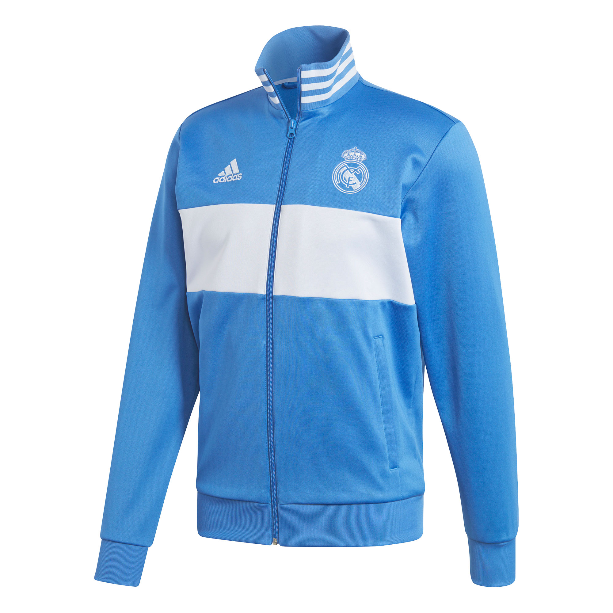 Image of Real Madrid 3 Stripe Track Top - Blue