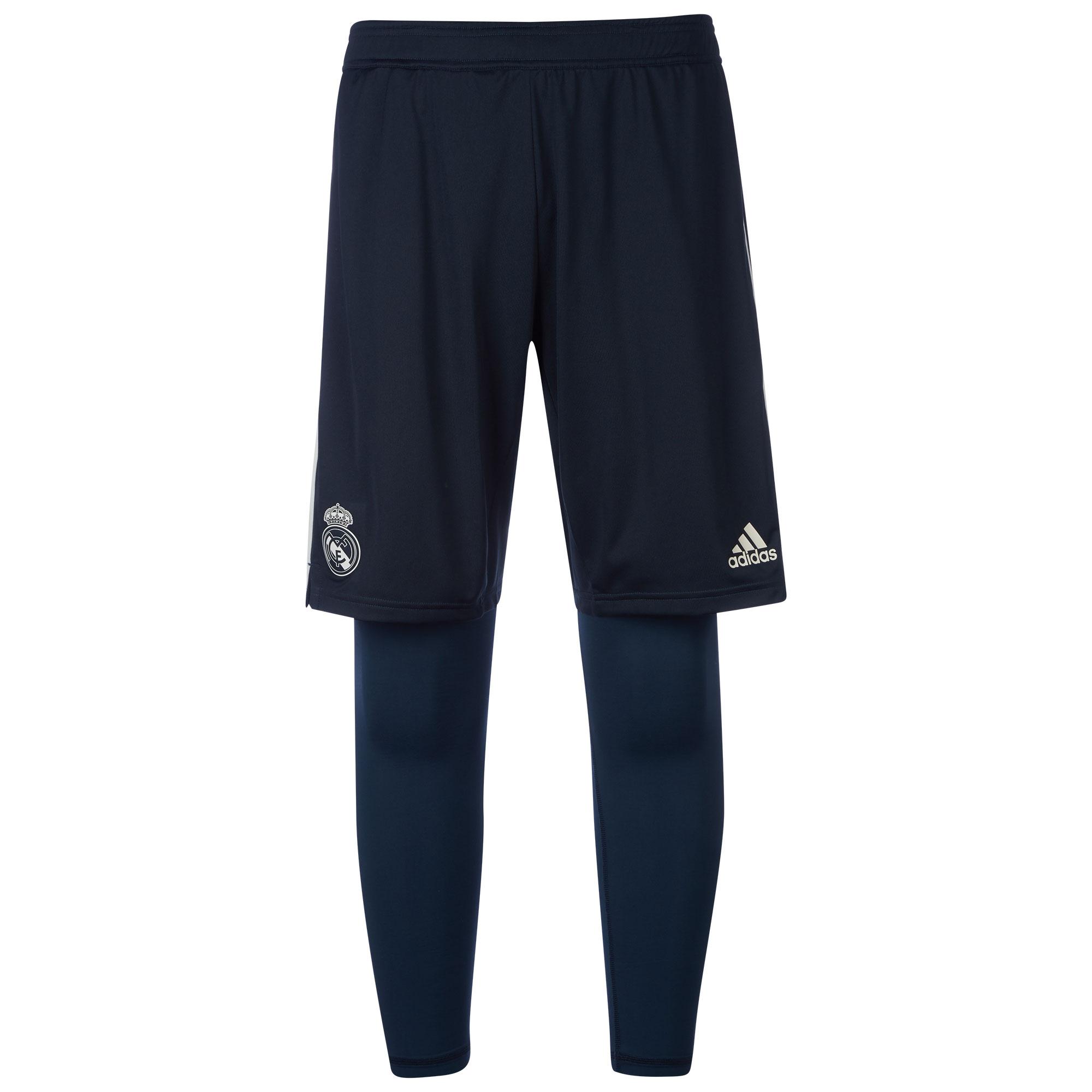 Pantalón corto de entrenamiento del Real Madrid dos en uno en gris oscuro