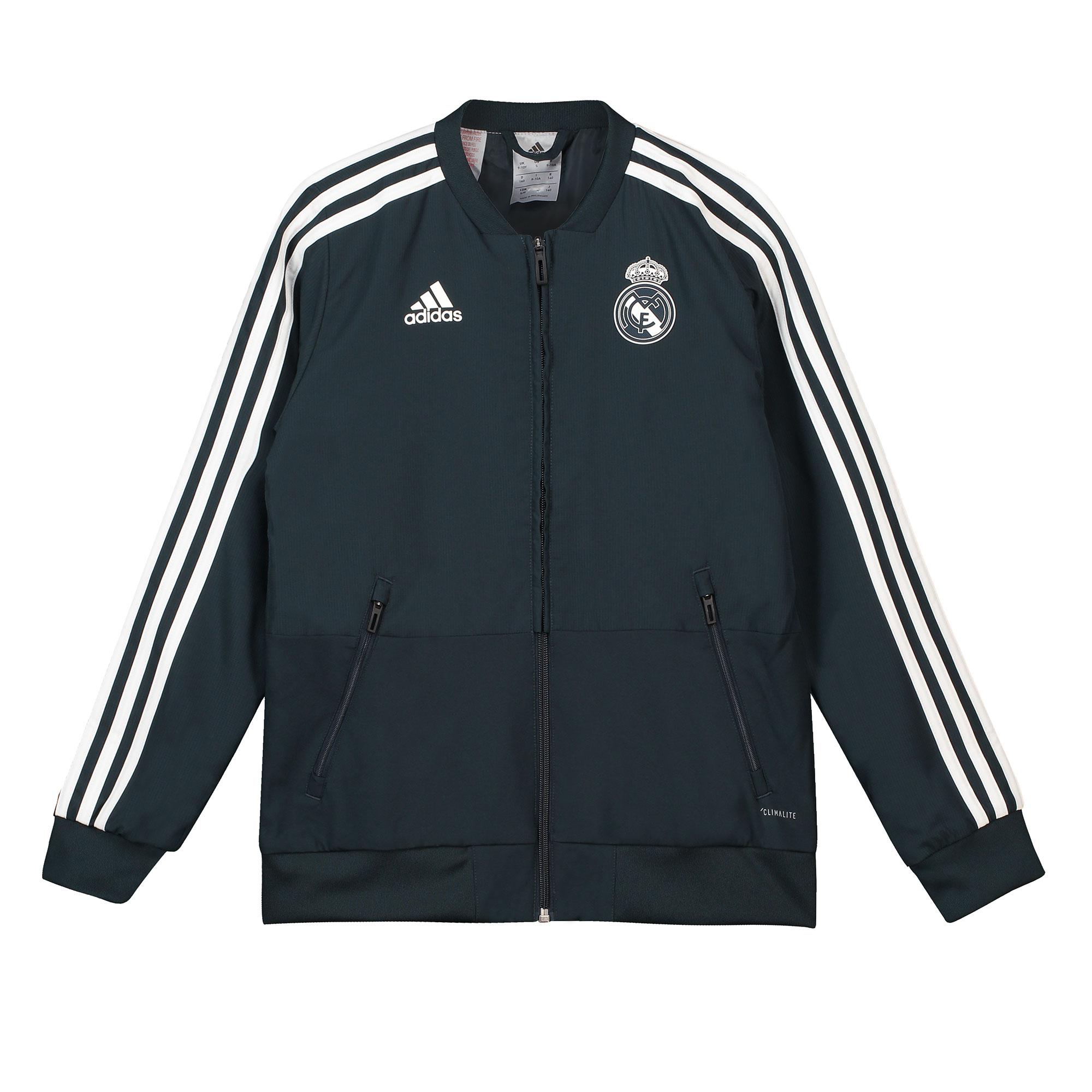 Chaqueta de tejido de entrenamiento Presentation del Real Madrid en gris oscuro para niños