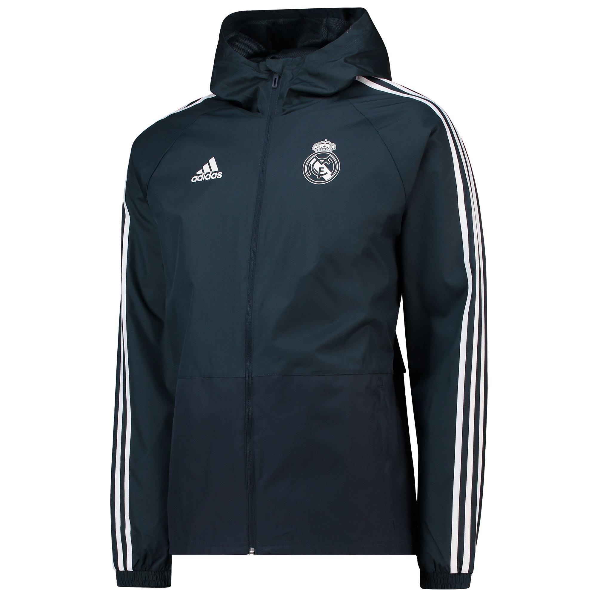 Chaqueta impermeable de entrenamiento del Real Madrid en gris oscuro