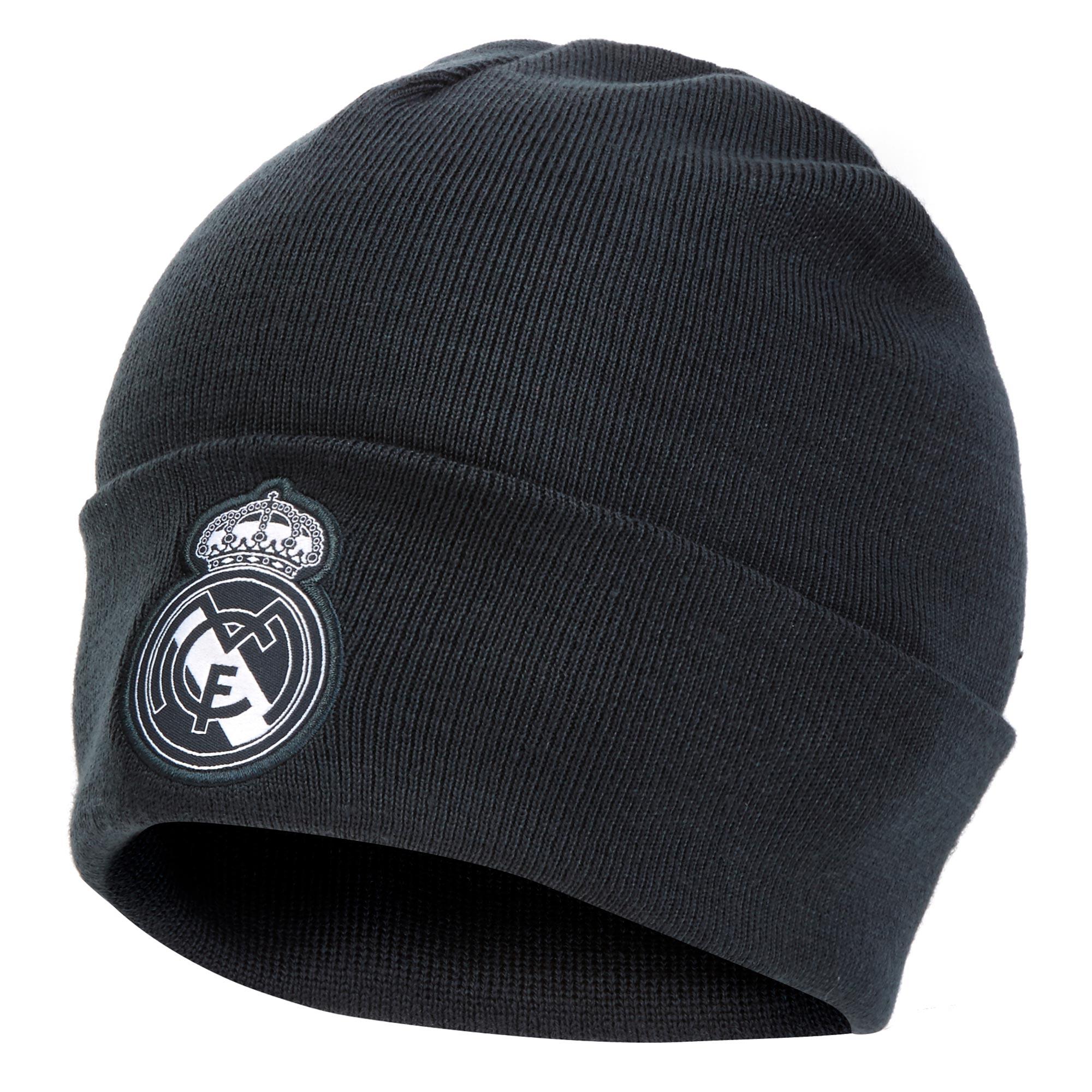Image of Real Madrid 3 Stripe Woolie Hat - Dark Grey
