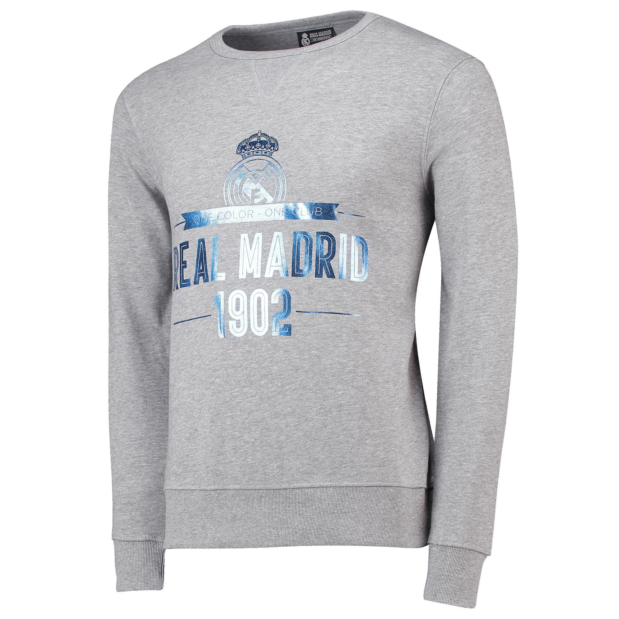 Image of Real Madrid 1902 Print Sweatshirt - Grey - Mens