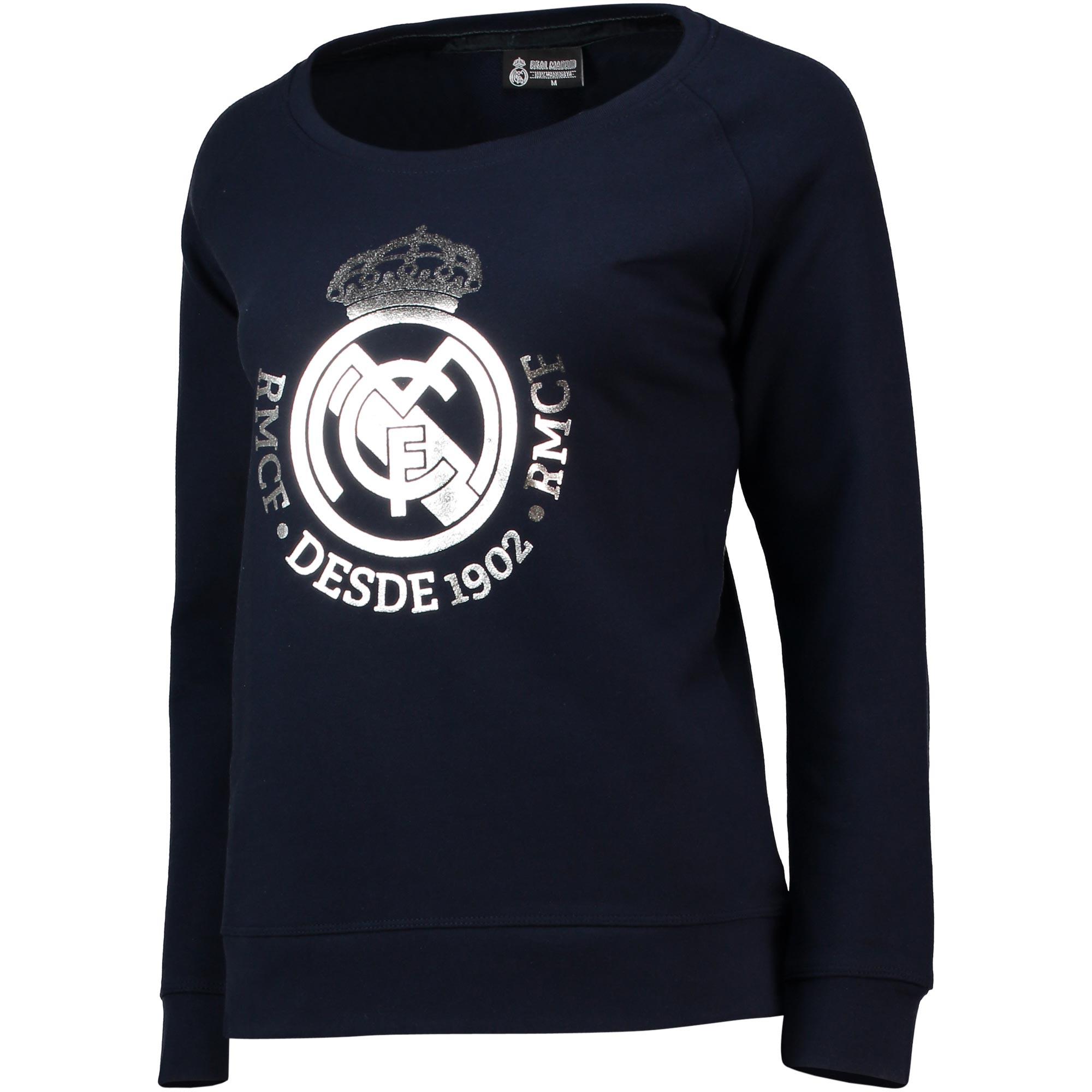 Sudadera del Real Madrid con escudo metálico en azul marino para mujer