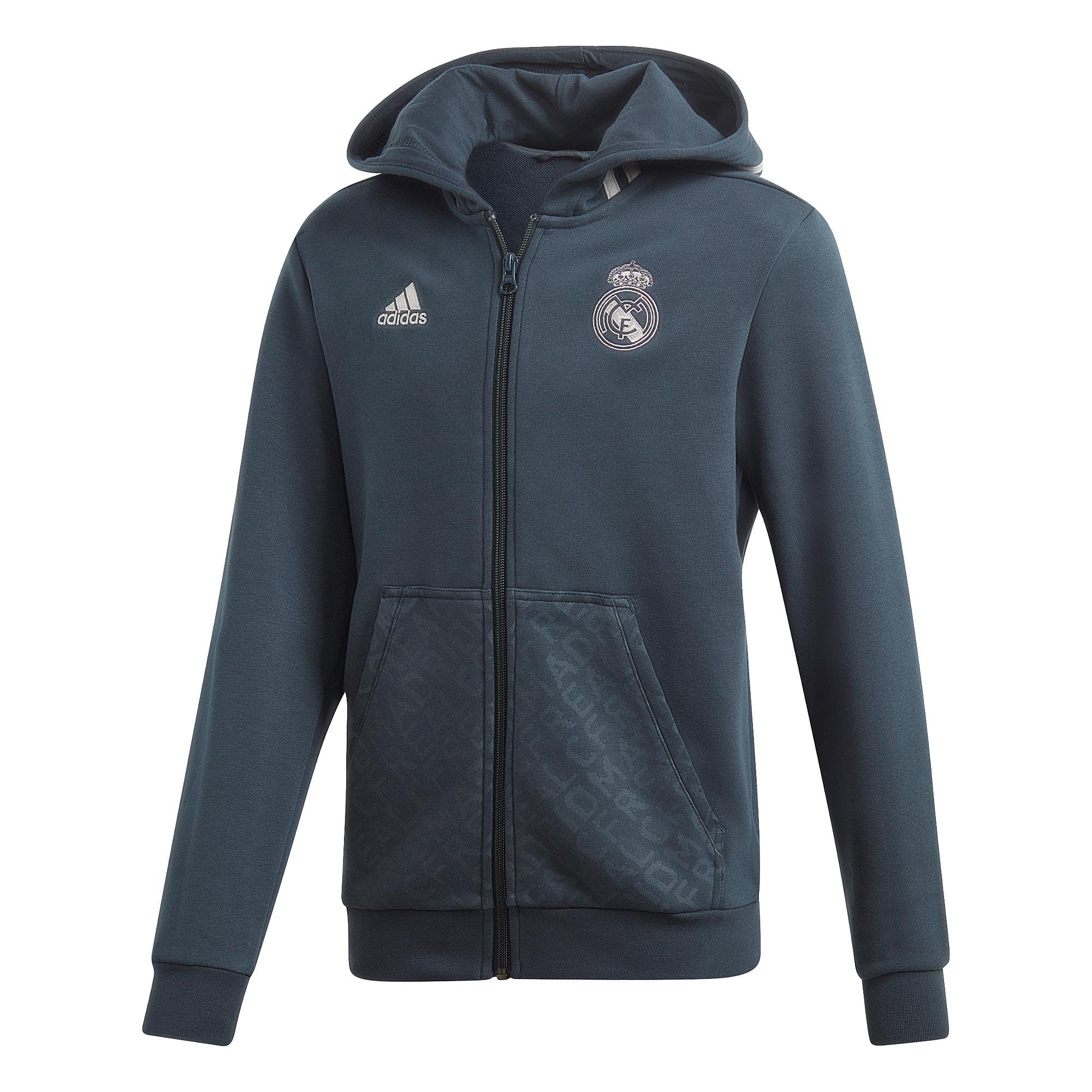 Sudadera con capucha y cremallera completa del Real Madrid en gris para niños