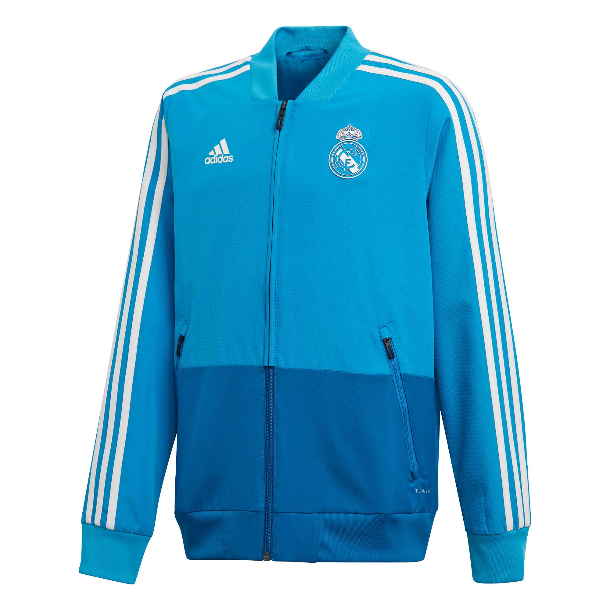 Chaqueta de presentación de entrenamiento del Real Madrid para niños en azul