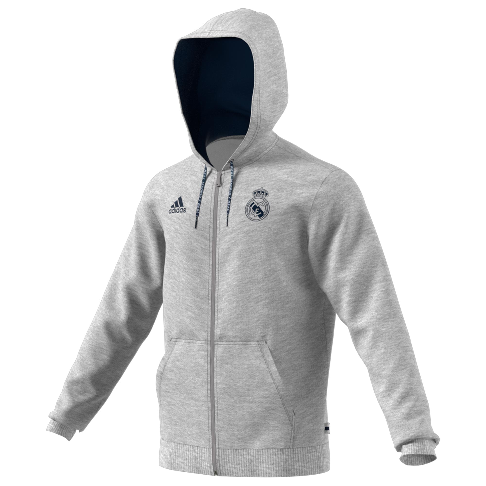 Sudadera con capucha y cremallera completa del Real Madrid gris jaspeada
