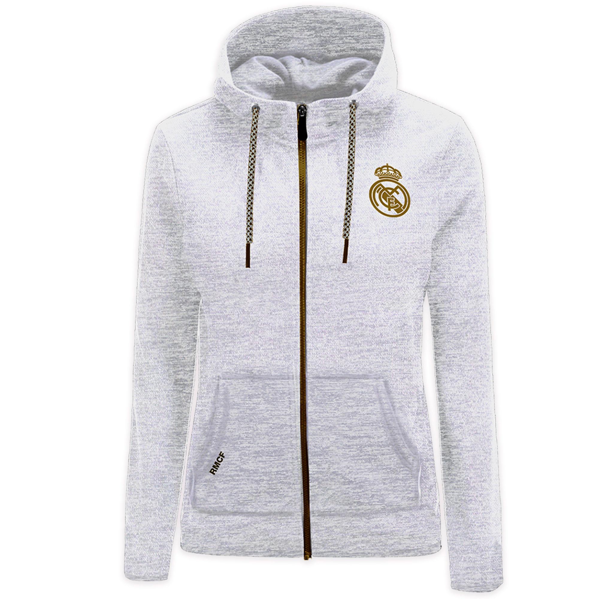 Prendas Deportivas Rogers SL / Sudadera con capucha y cremallera del Real Madrid blanca para mujer