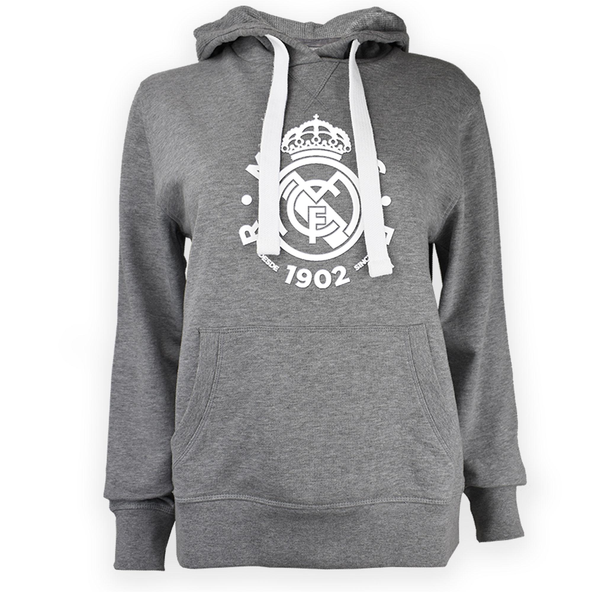 Prendas Deportivas Rogers SL / Sudadera del Real Madrid con capucha y escudo en gris para mujer