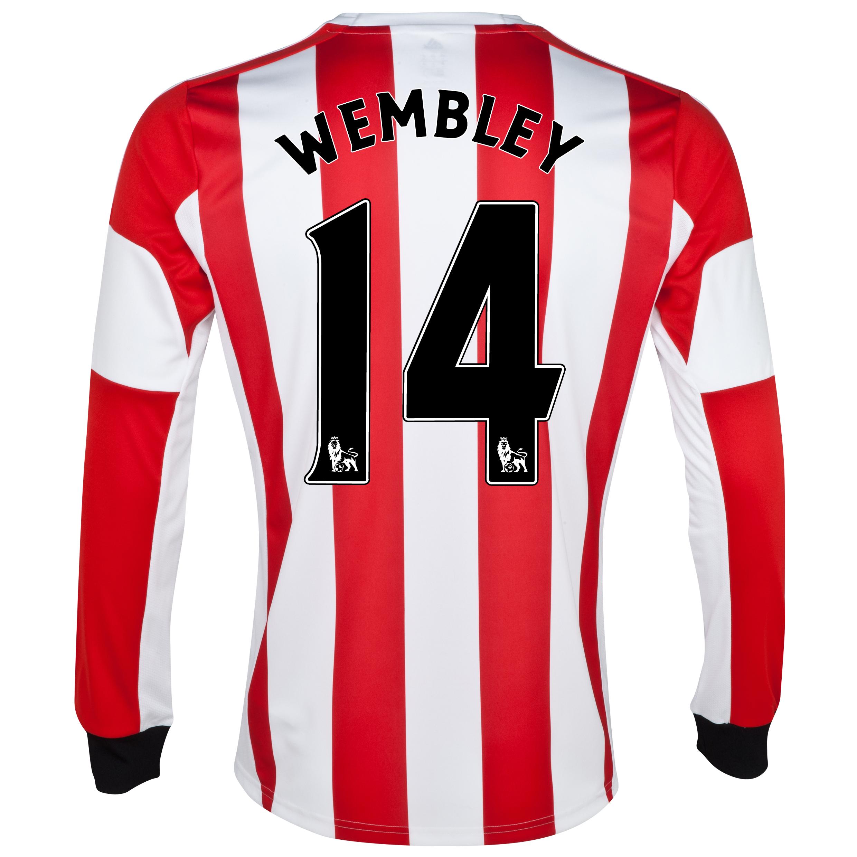 Sunderland Home Shirt 2013/14 - Long Sleeved - Junior with Wembley 14 printing