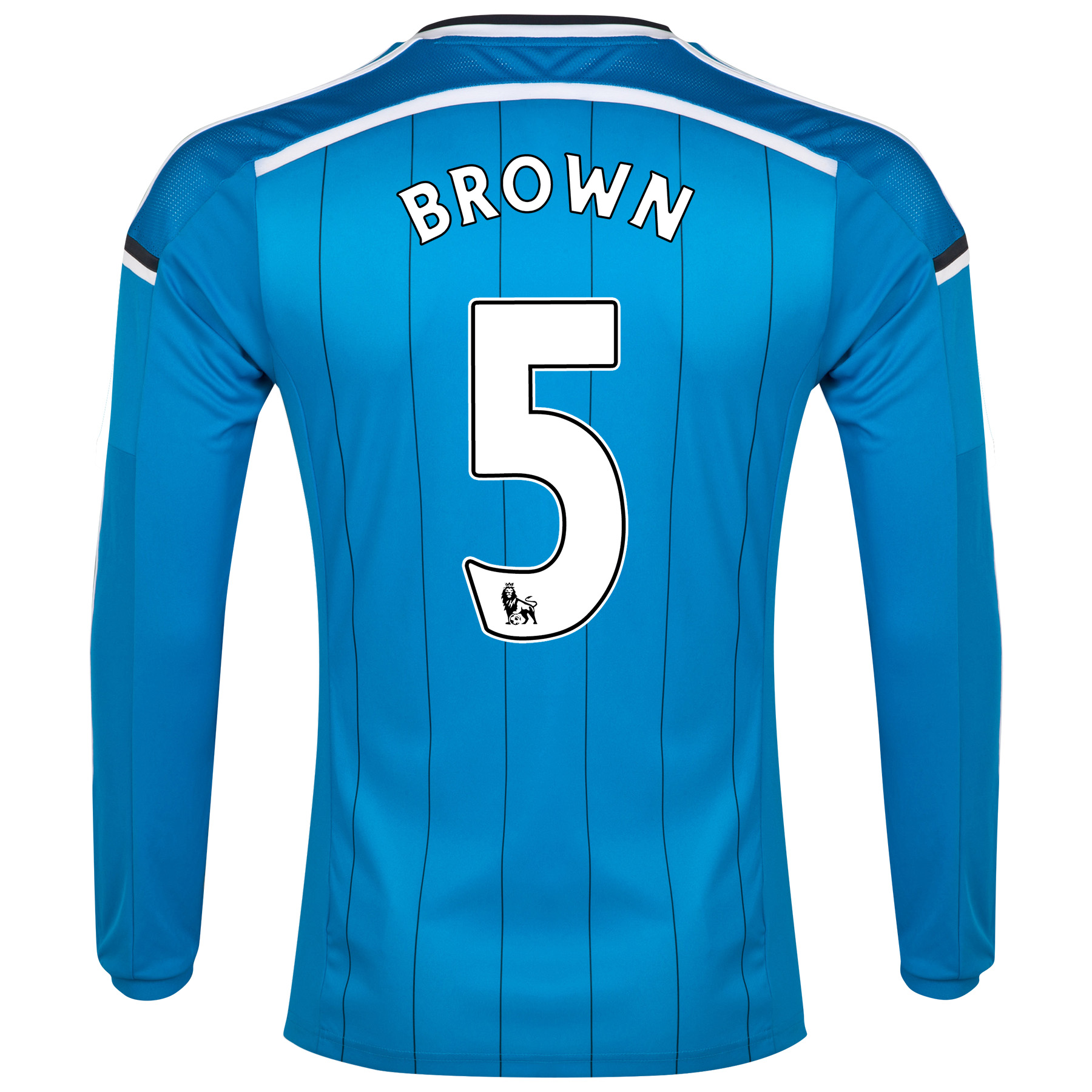 Sunderland Away Shirt 2014/15 - Long Sleeved Lt Blue with Brown 5 printing
