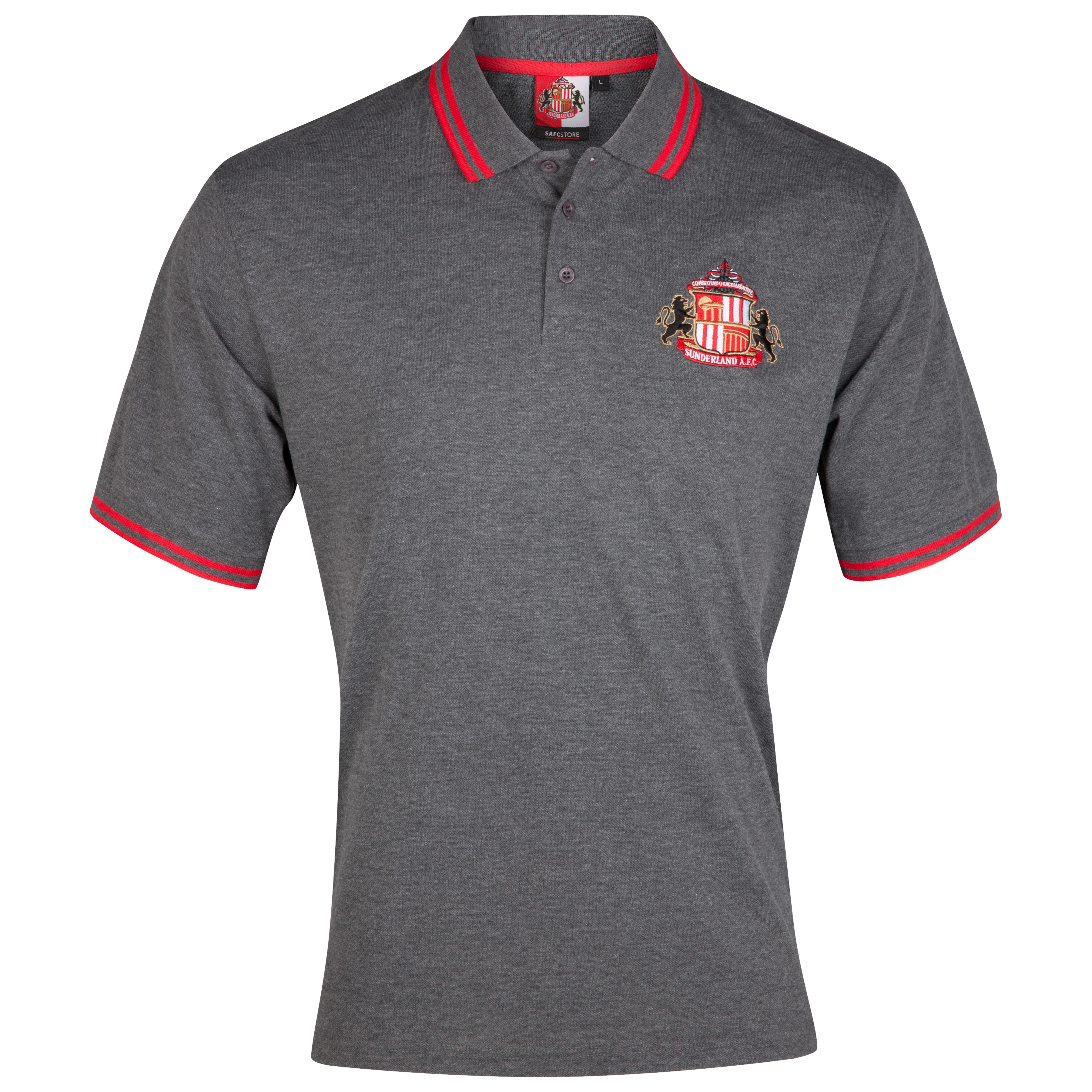 Sunderland Essential Epic Crest Polo Top - Charcoal Marl - Older Boys