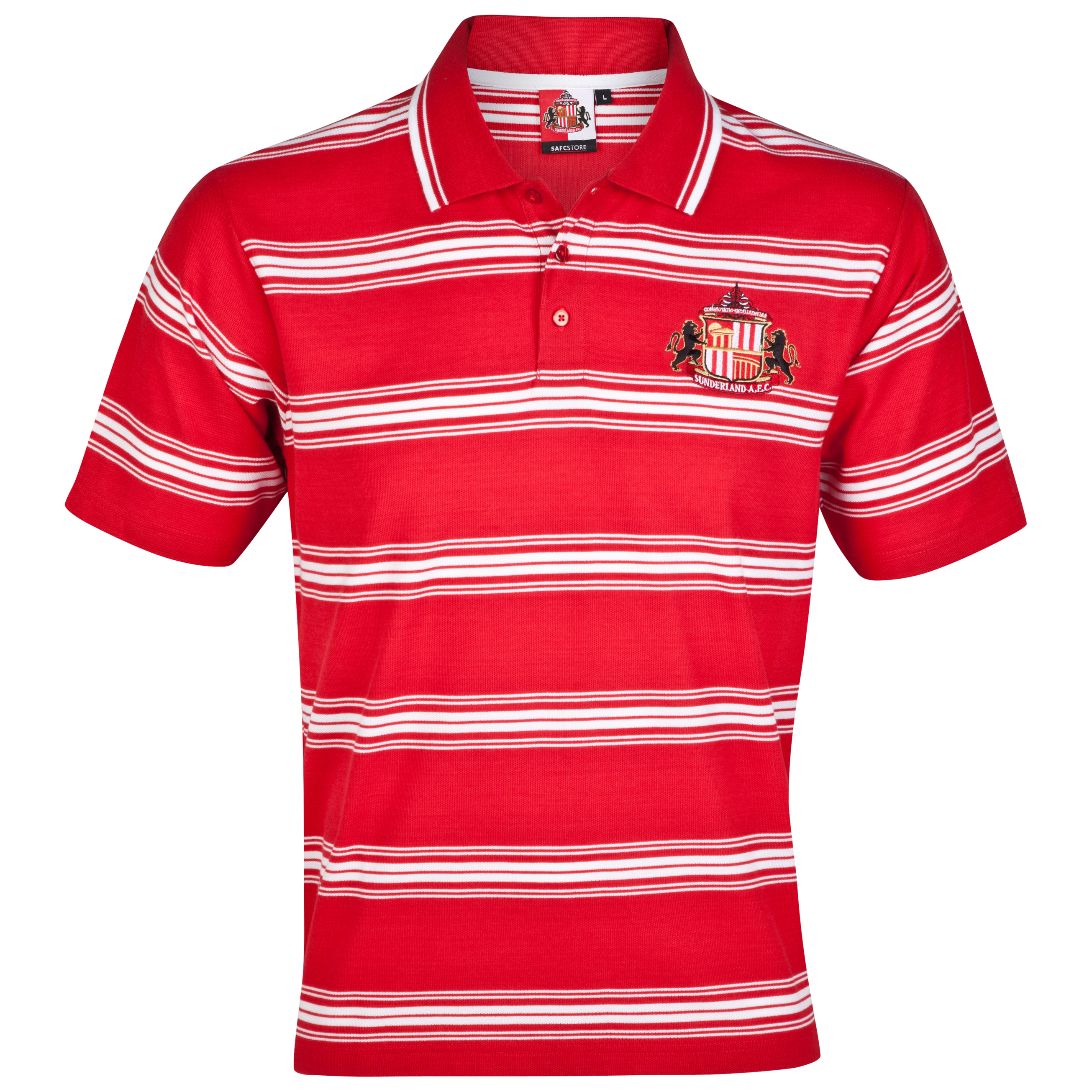 Sunderland Essential Precise Stripe Polo Top - Red - Older Boys