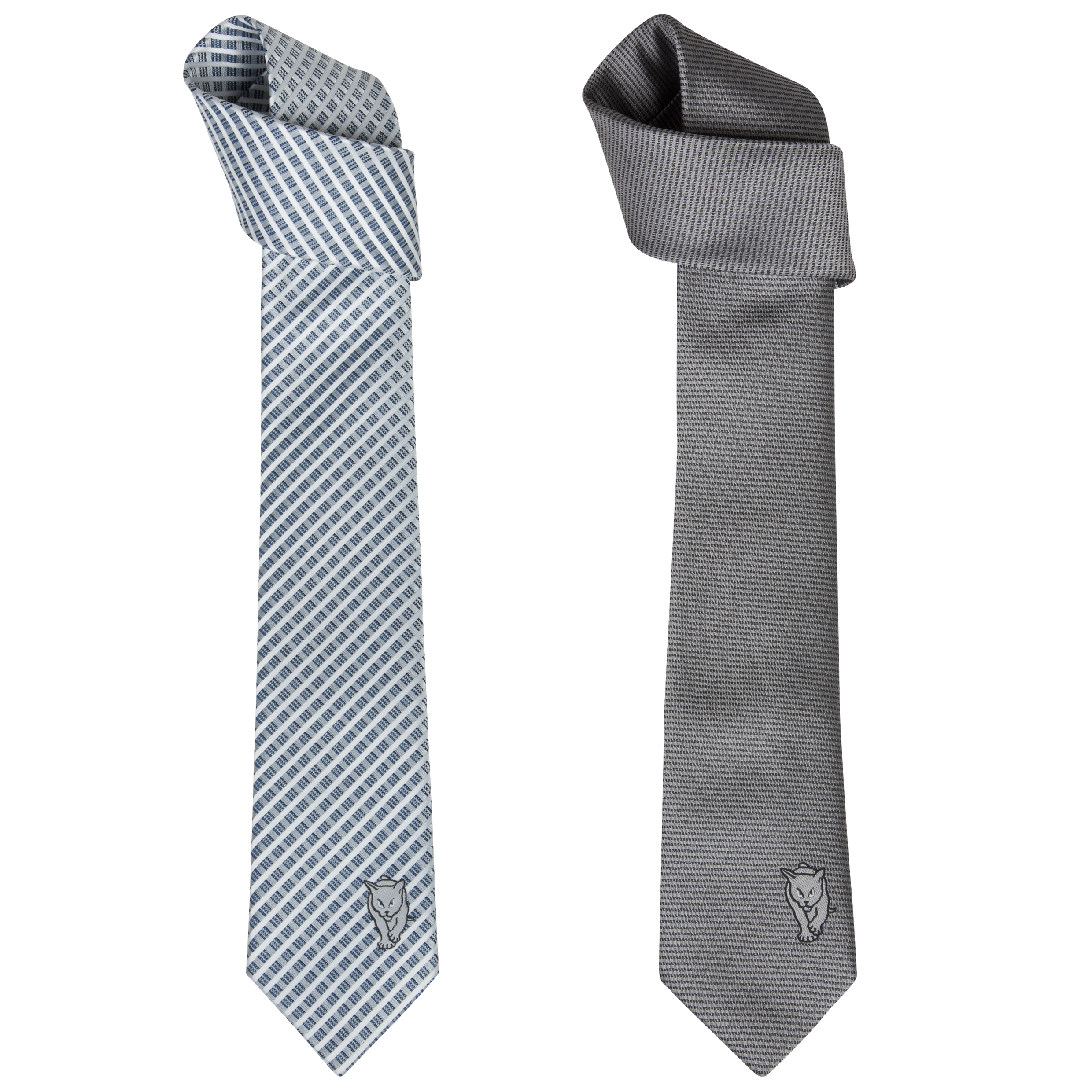 Sunderland 2 Pack of Black Cat Polyester Ties - Grey