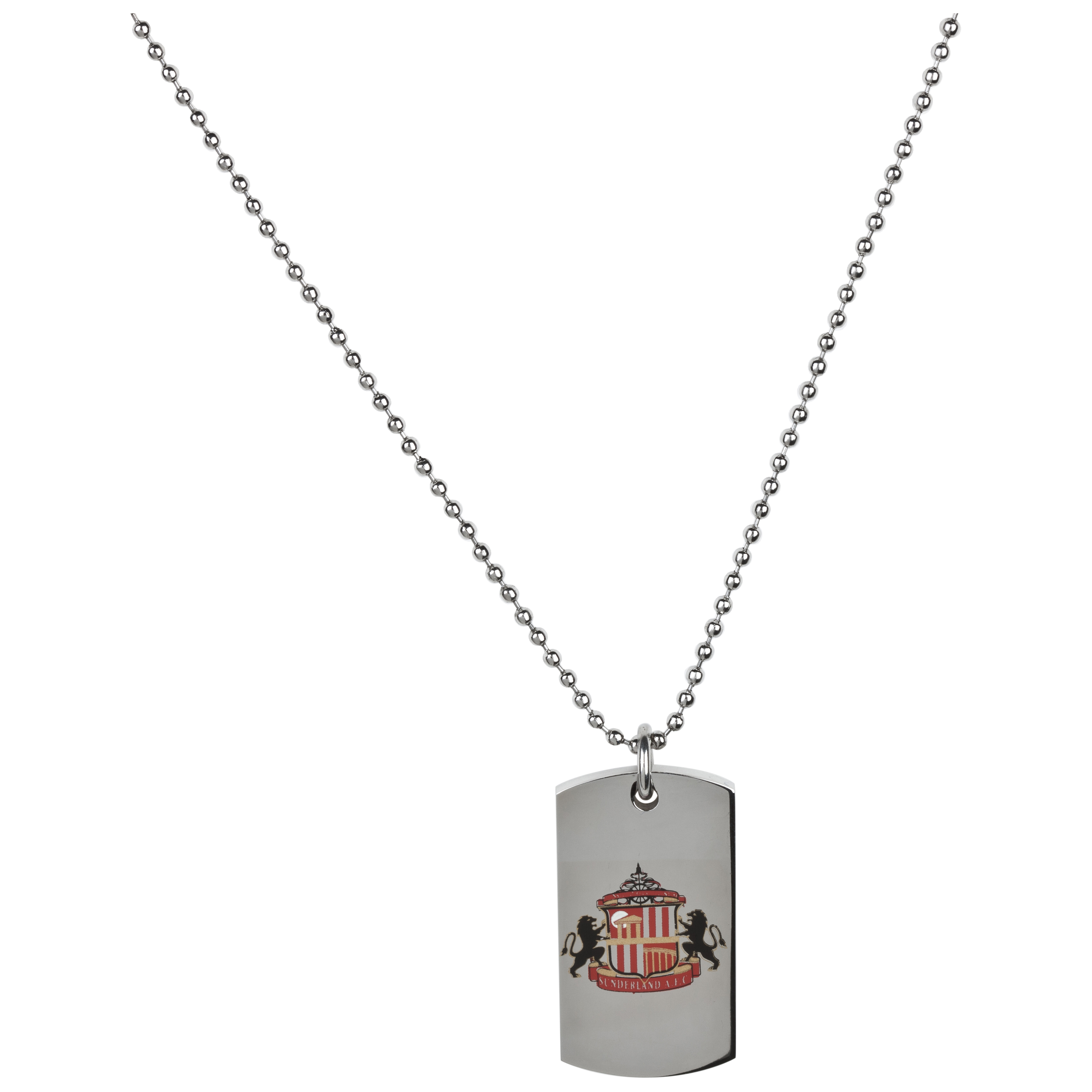 Sunderland Stainless Steel Colour Crest Dog Tag and Ball Chain