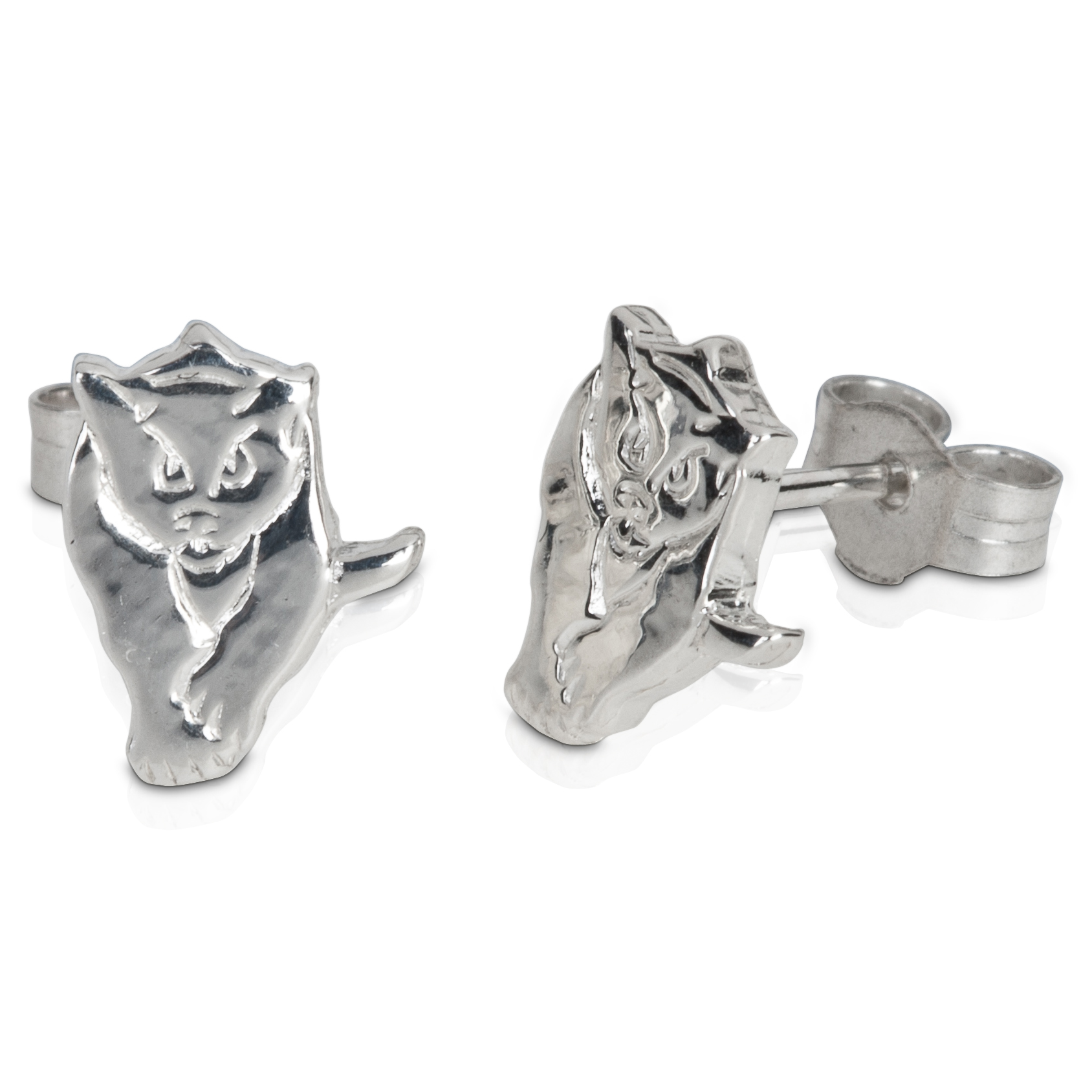 Sunderland Black Cat Stud Earring - Pair - Sterling Silver