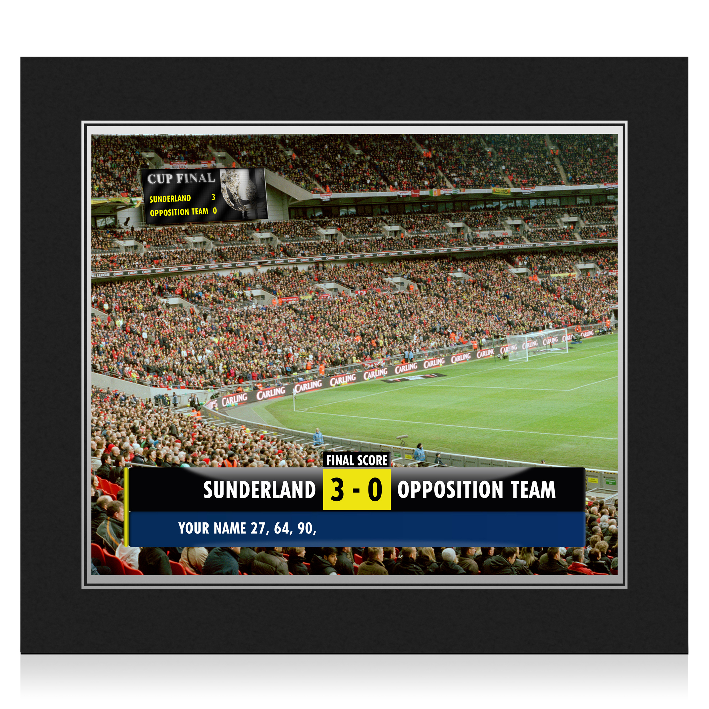 Sunderland Personalised Scoreboard Photo in Presentation Folder