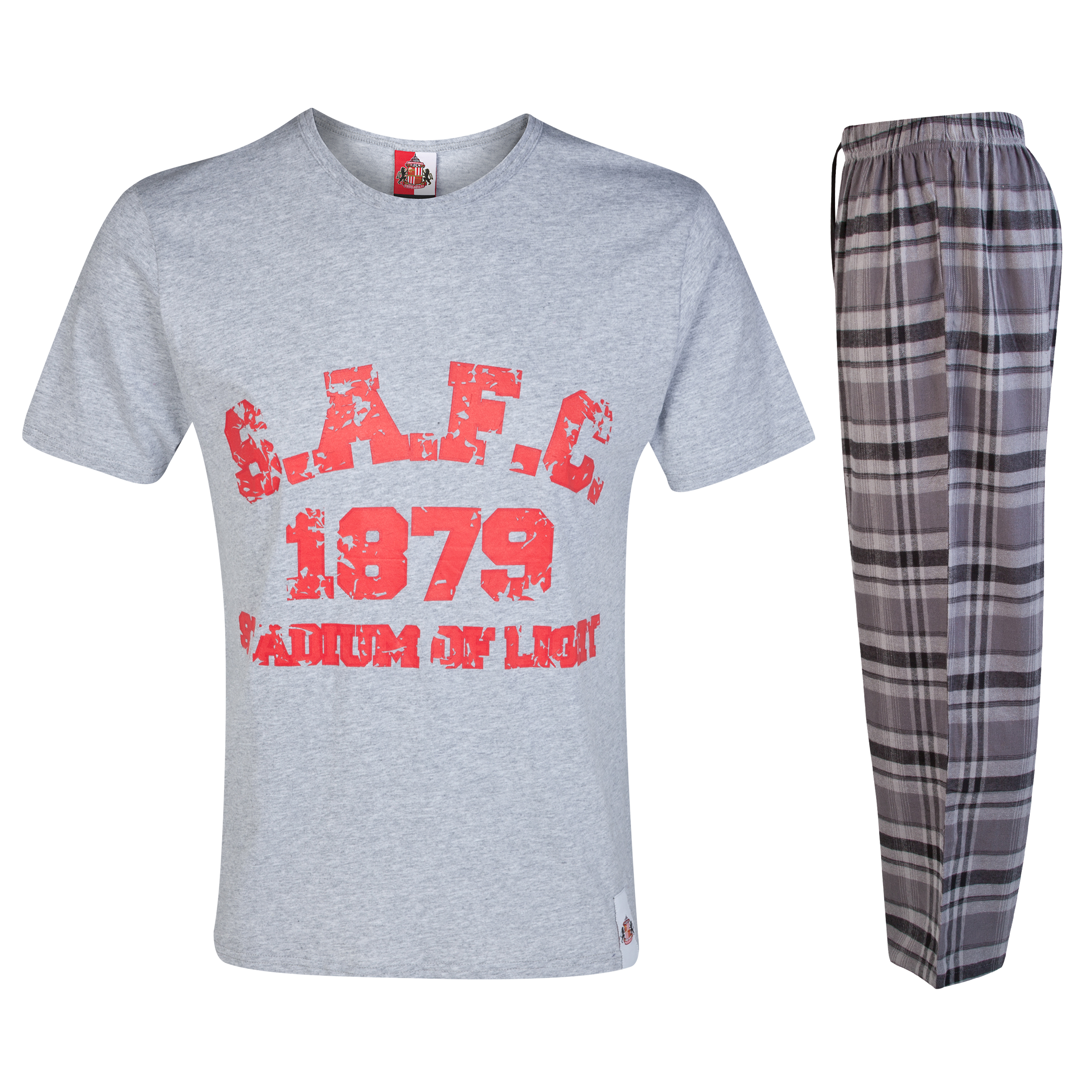 Sunderland Check SAFC Pyjamas-Grey/Red