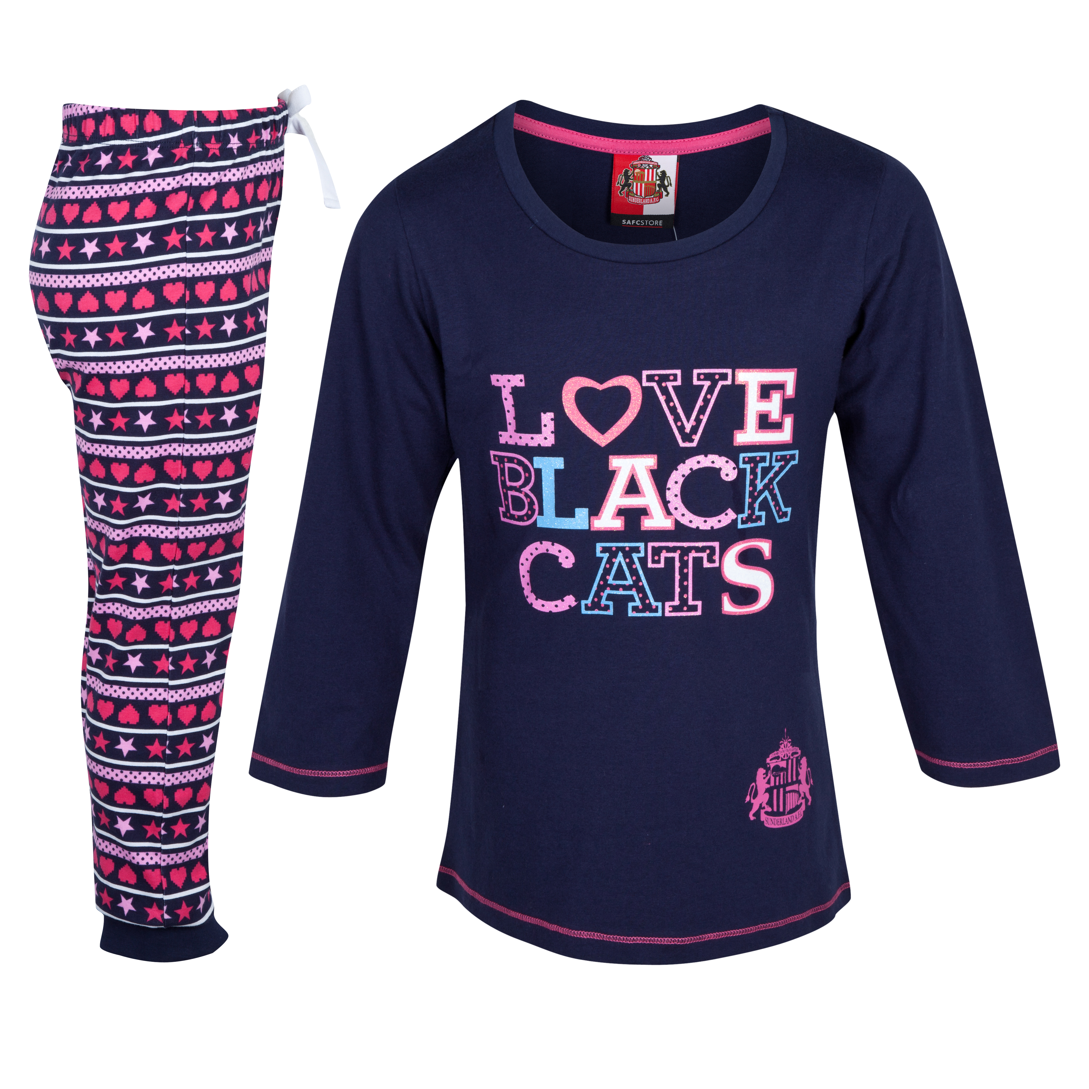 Sunderland Text Pyjama - Navy/Pink - Girls