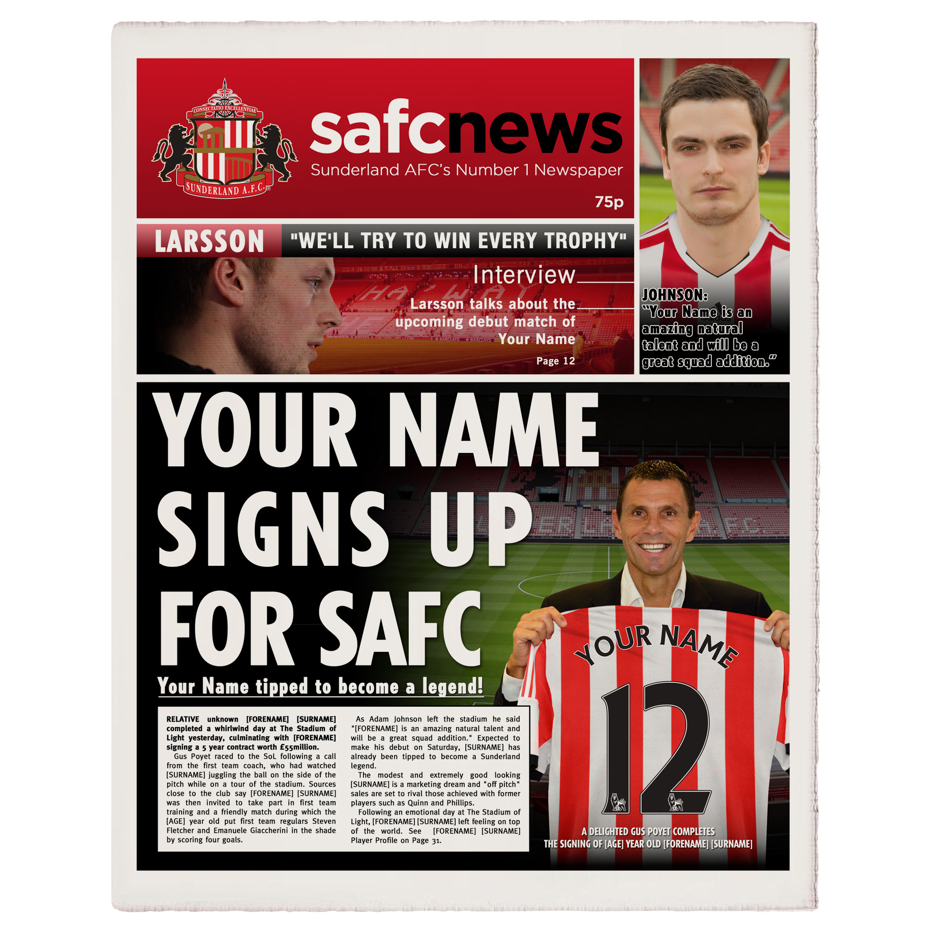 Sunderland Personalised Newspaper Single Page