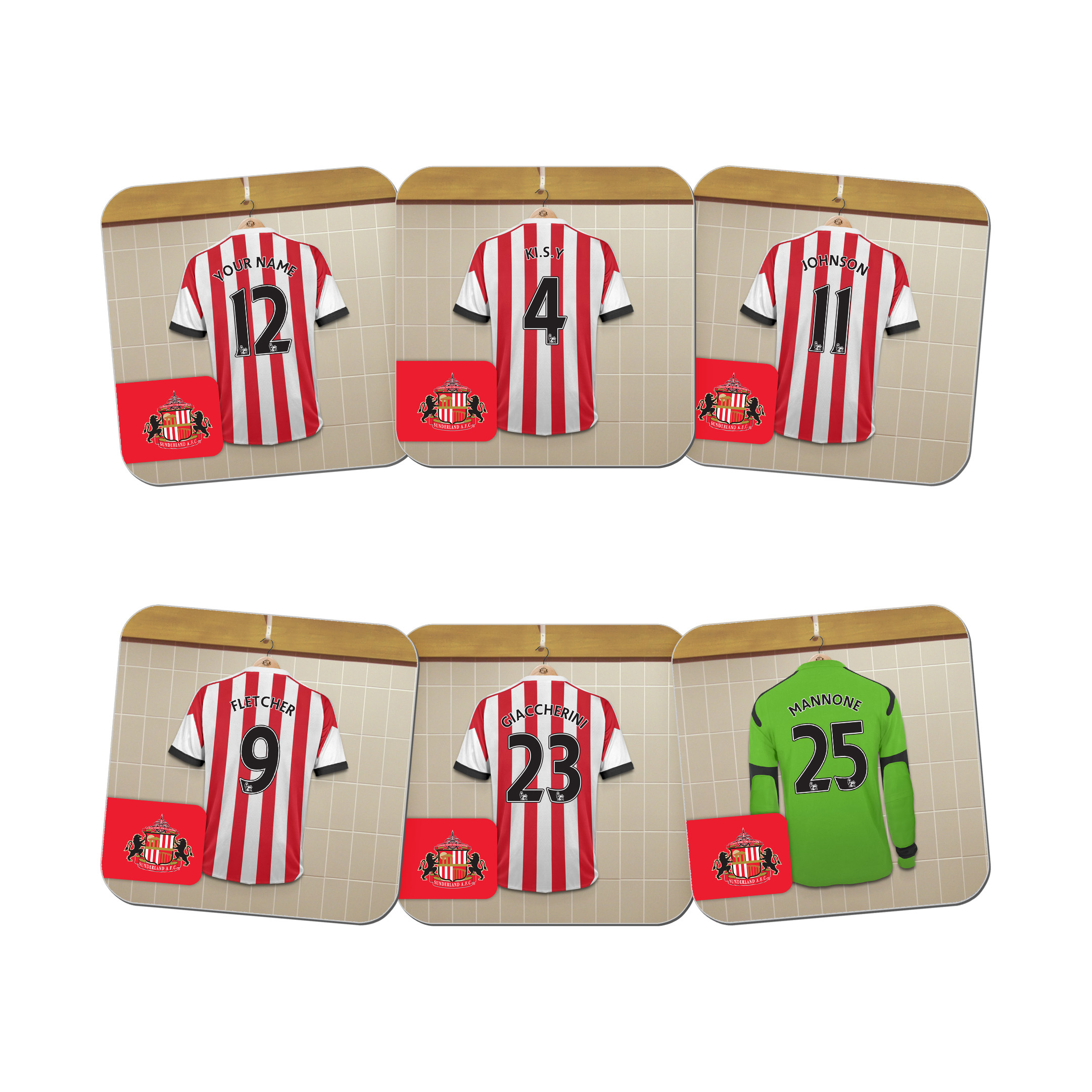 Sunderland Personalised Dressing Room Coasters 6 Pack
