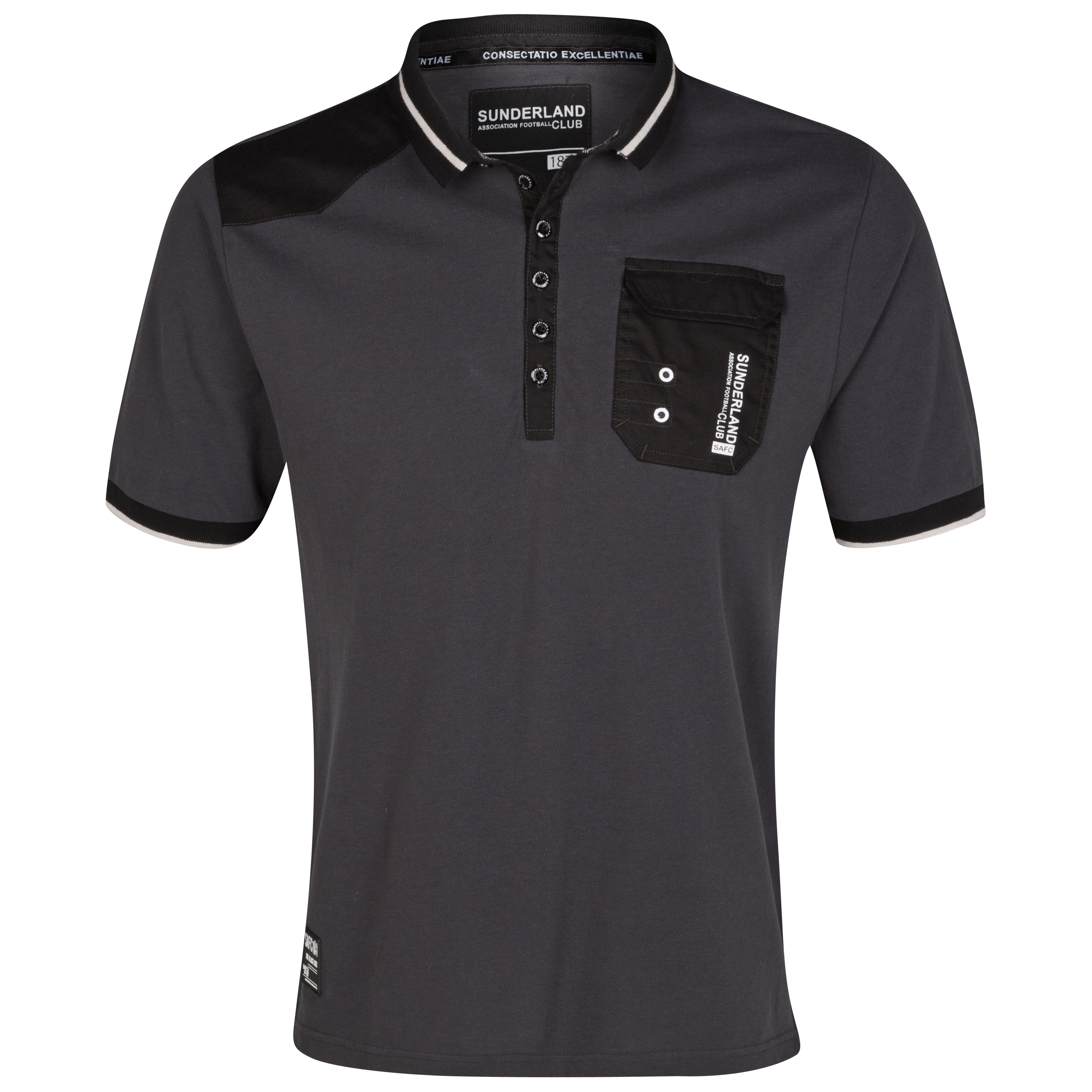 Sunderland Patched Polo Top - Charcoal