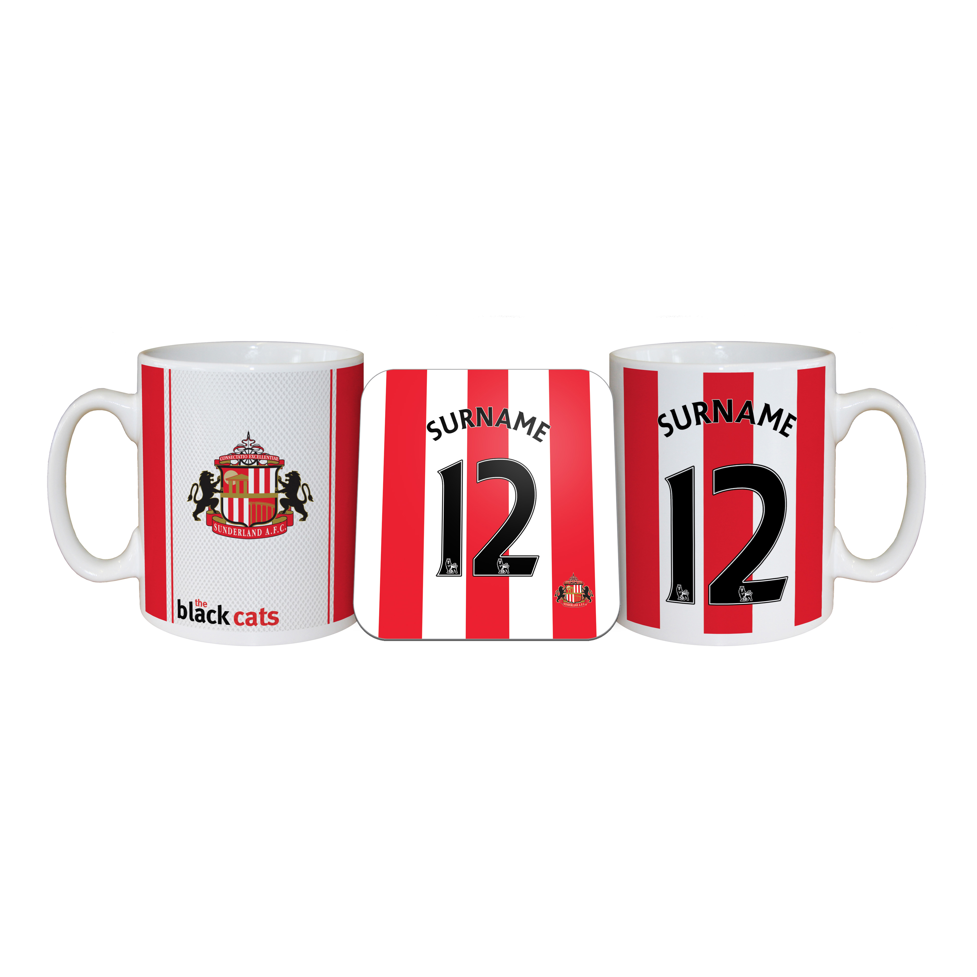 Sunderland Personalised Shirt Mug and Coaster Set
