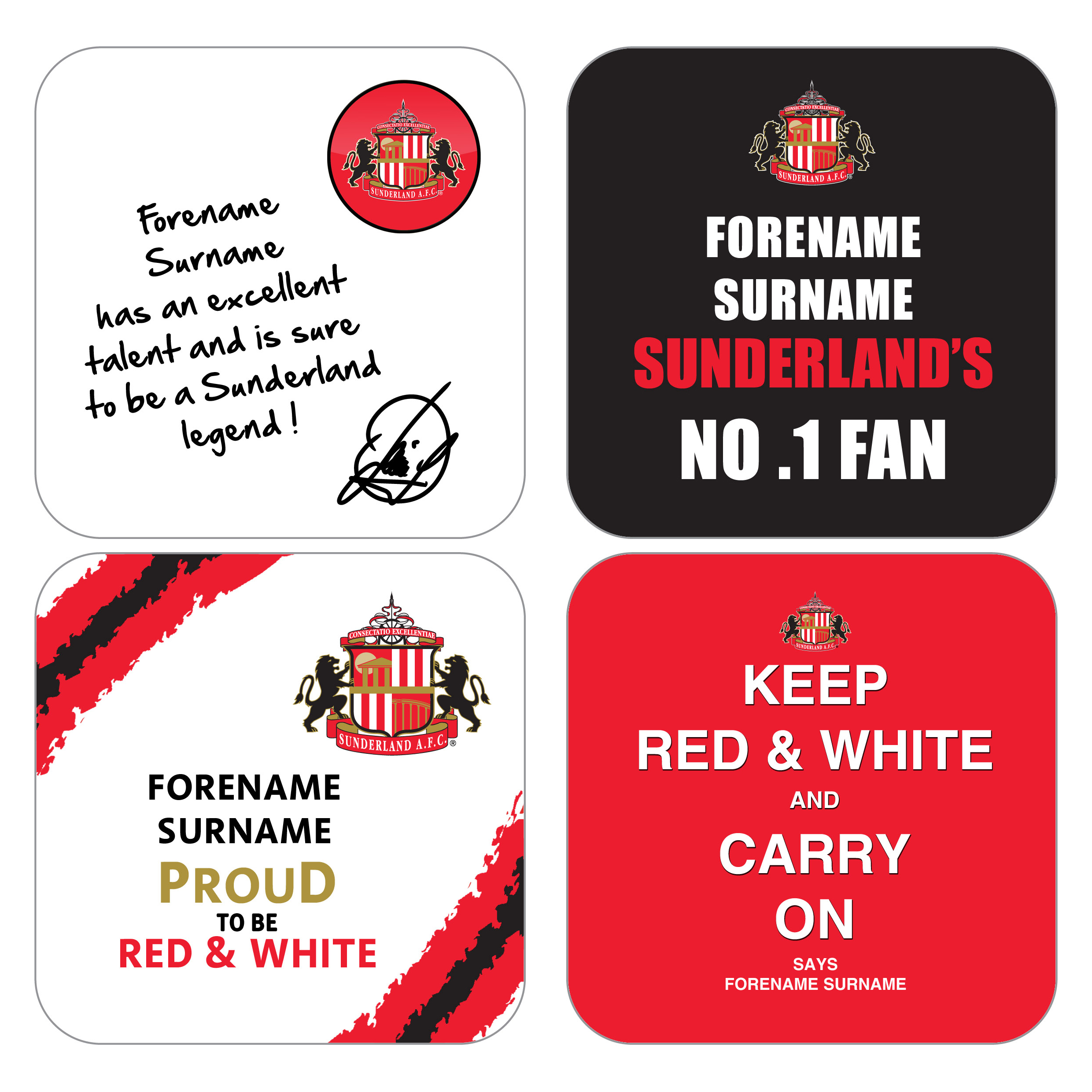 Sunderland Personalised Coasters 4 Pack