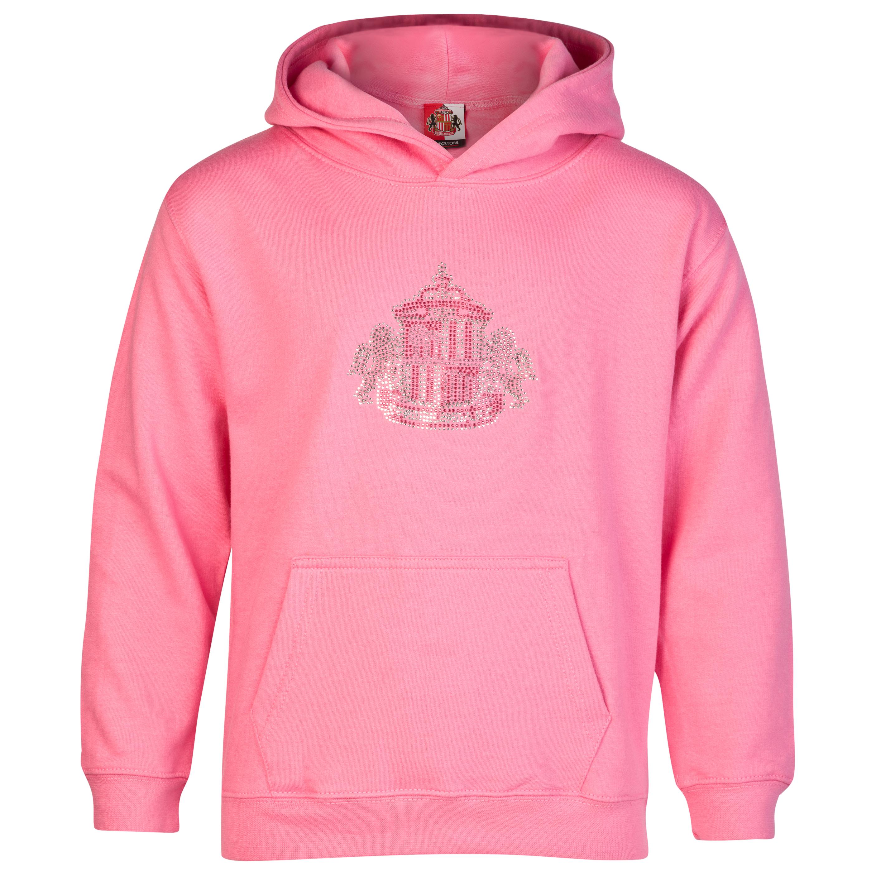 Sunderland Rhinestone Crest Hoodie - Candyfloss Pink - Older Girls