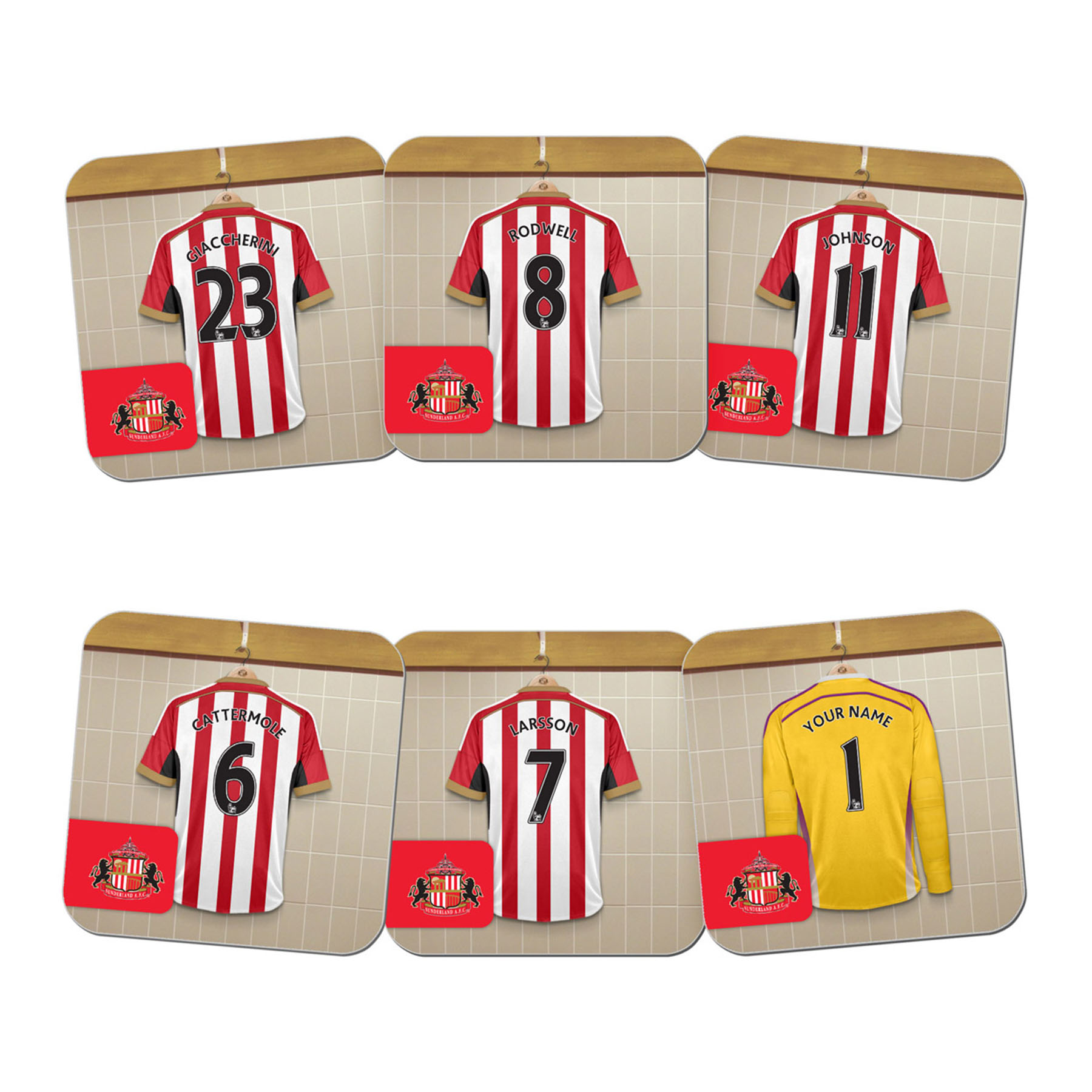 Sunderland Personalised Goal Keeper Dressing Room Coasters 6 Pack