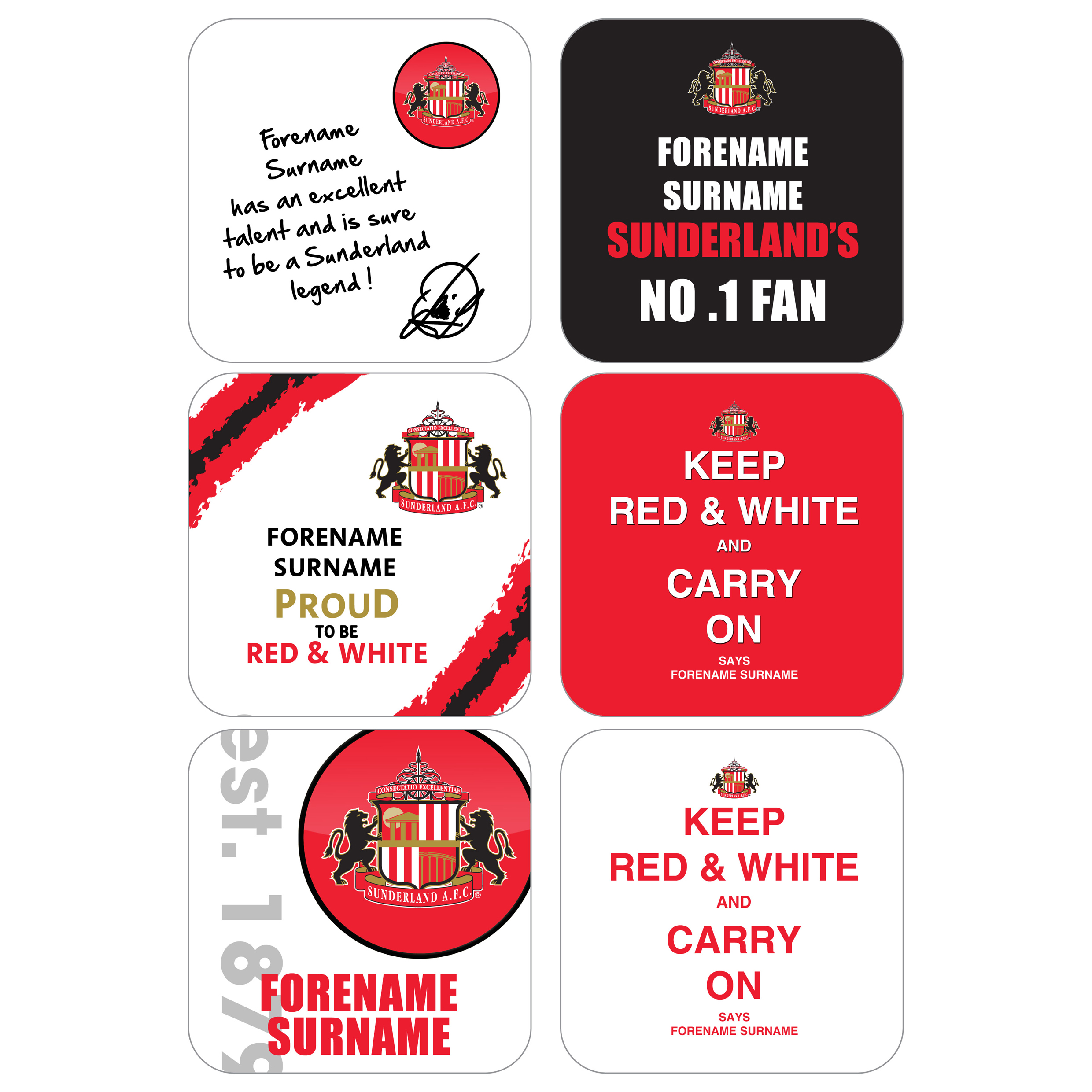 Sunderland Personalised Coasters 6 Pack