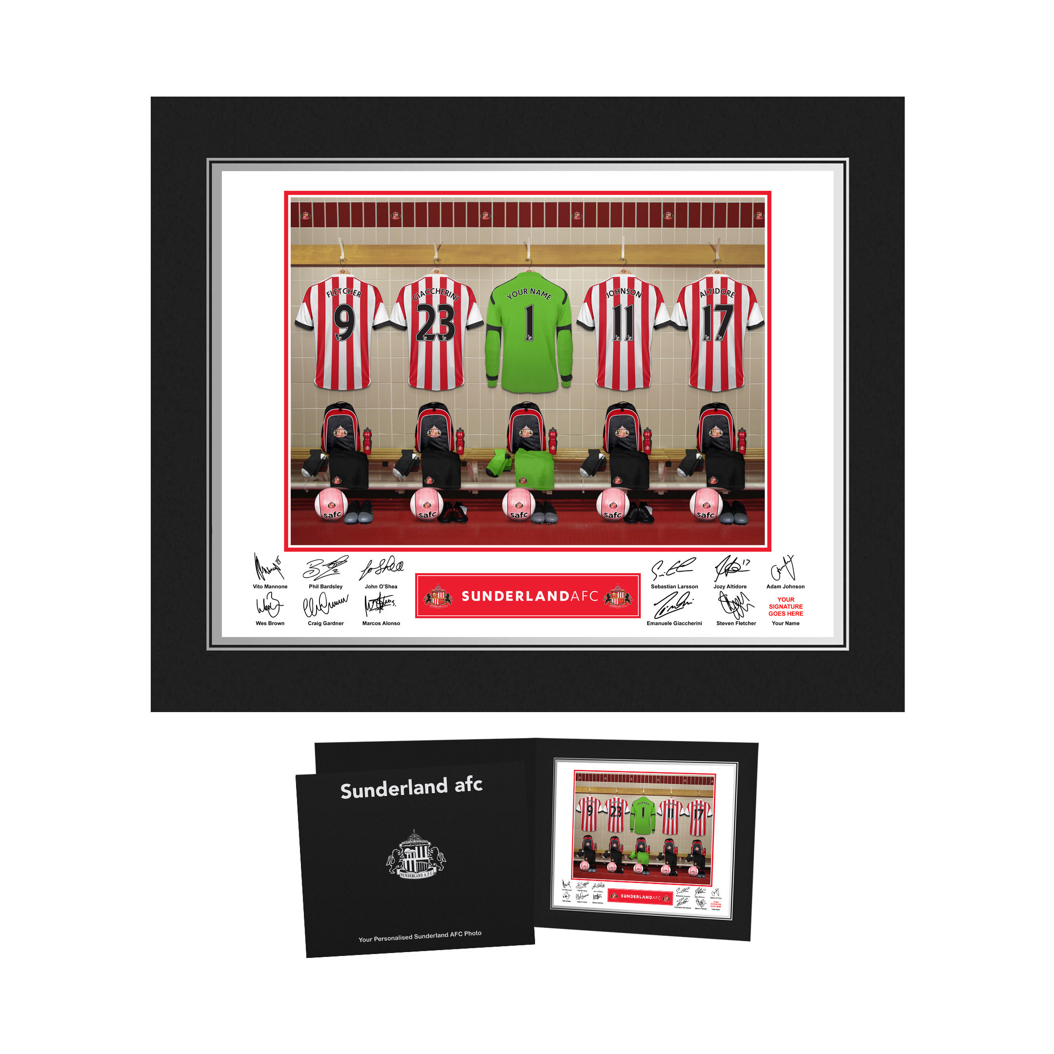 Sunderland Personalised Goalkeeper Dressing Room Photo in Presentation Folder