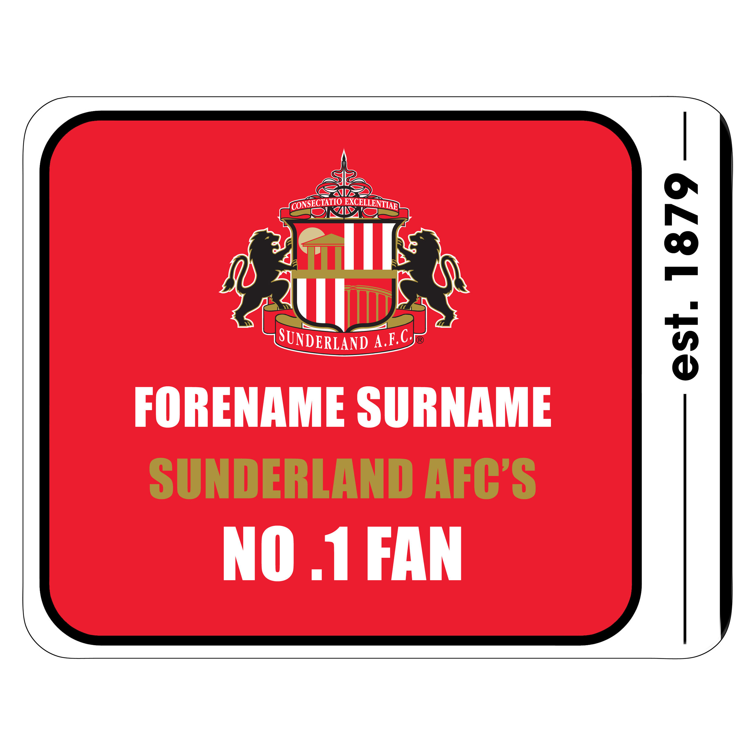 Sunderland Personalised No.1 Fan Mouse Mat