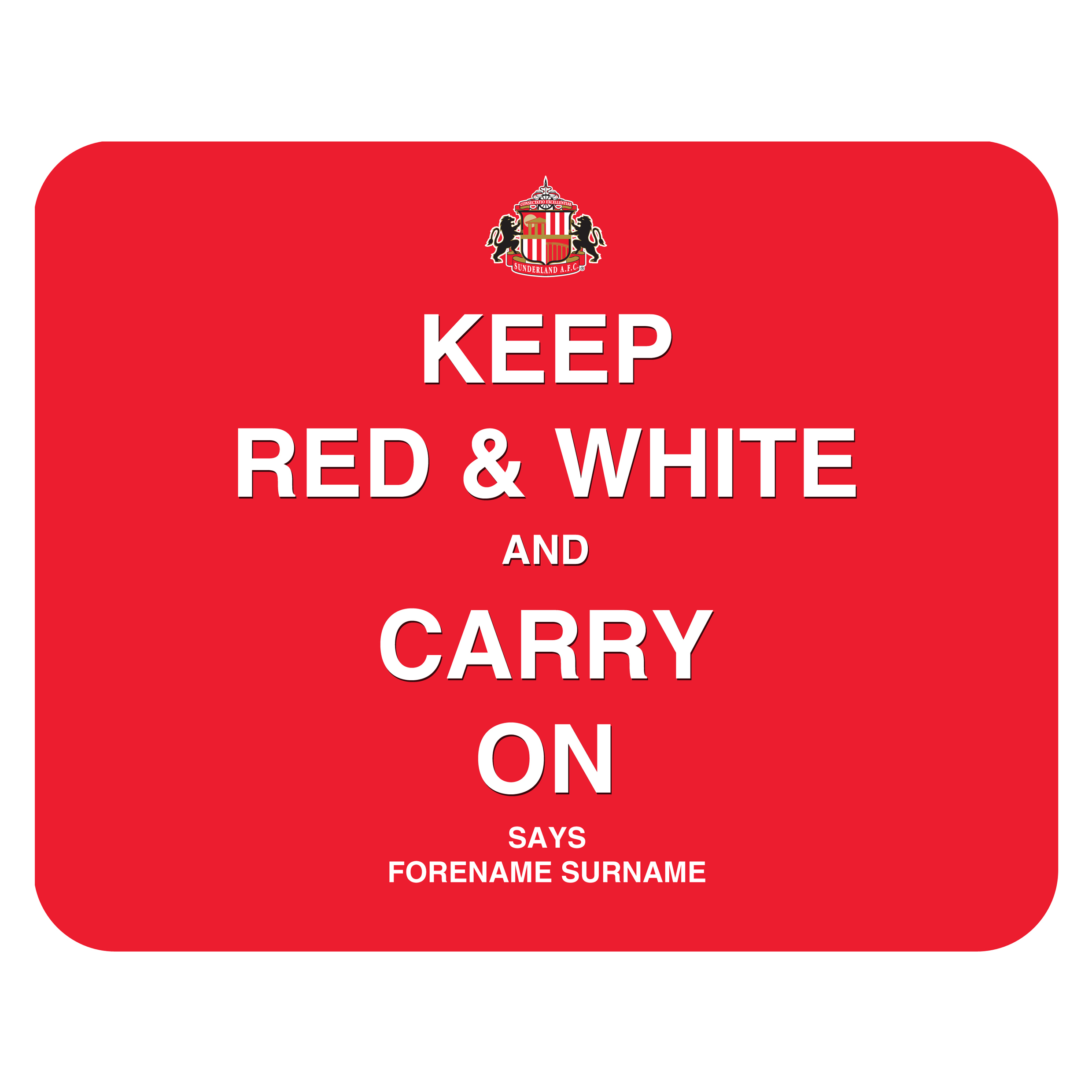 Sunderland Personalised Keep Red and White Mouse Mat