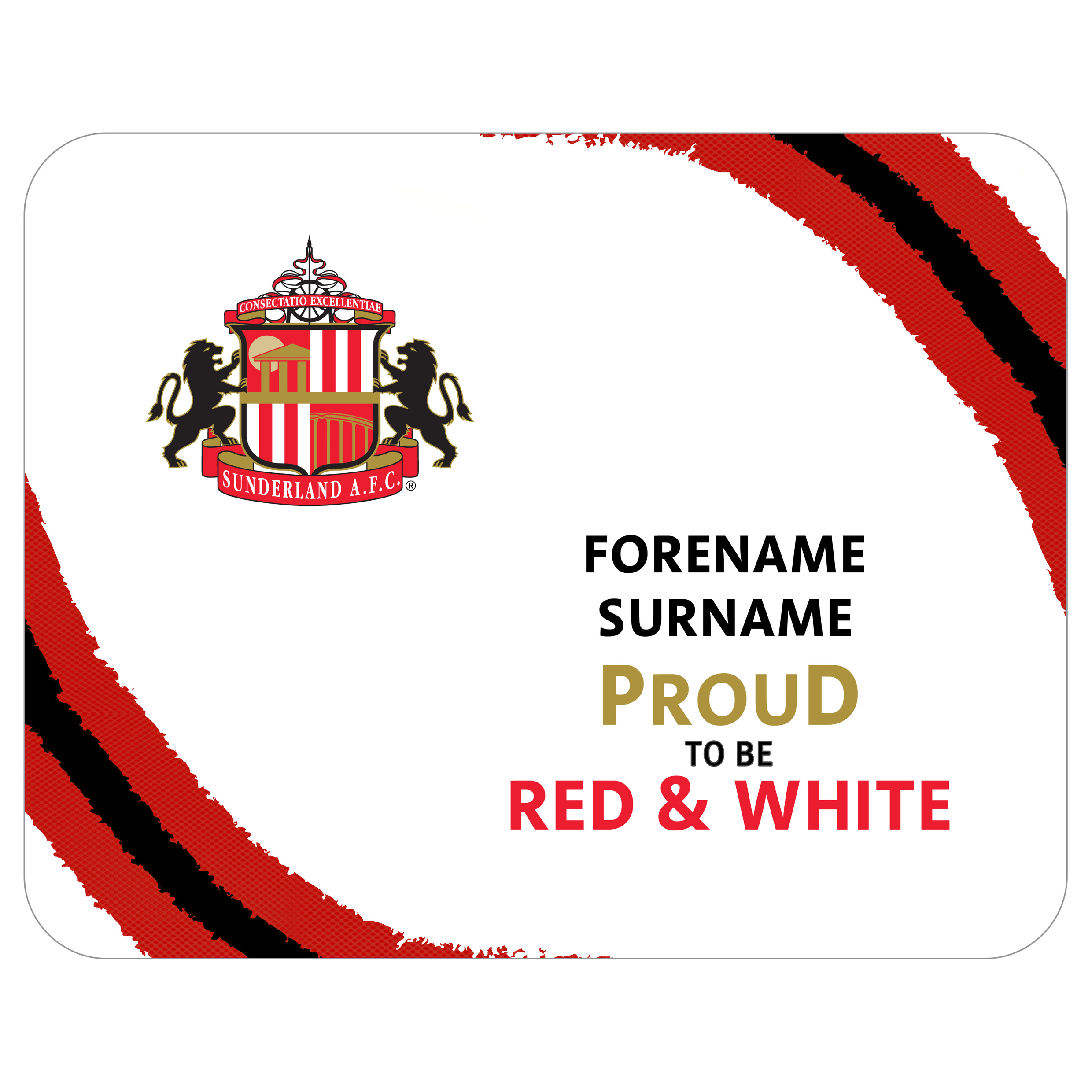 Sunderland Personalised Proud to be Red and White Mouse Mat