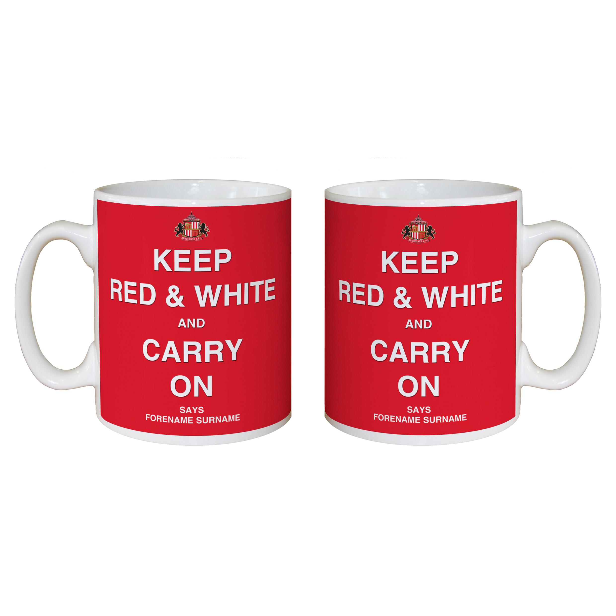 Sunderland Personalised Keep Red and White Mug