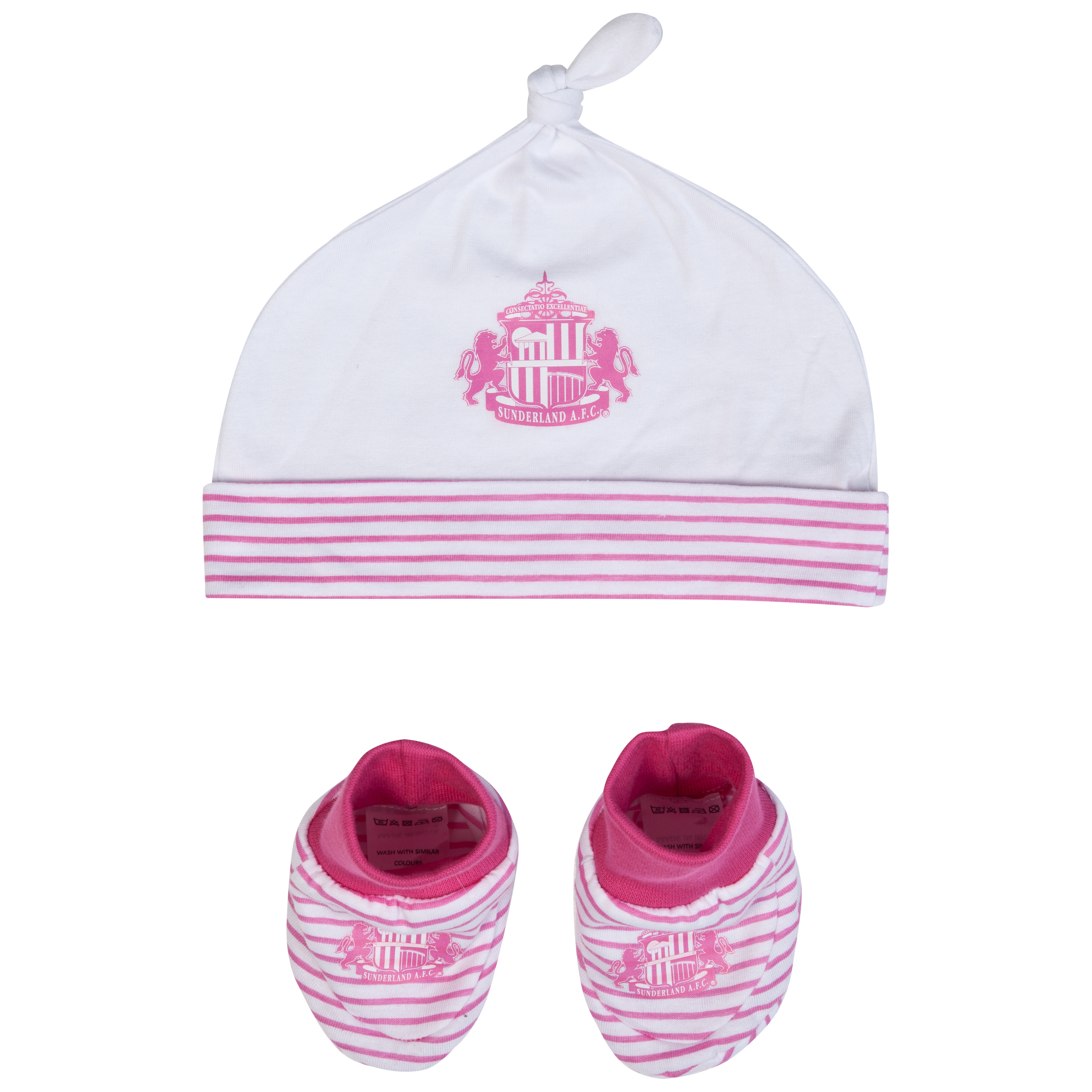 Sunderland Hat and Bootie - Pink/White - Baby