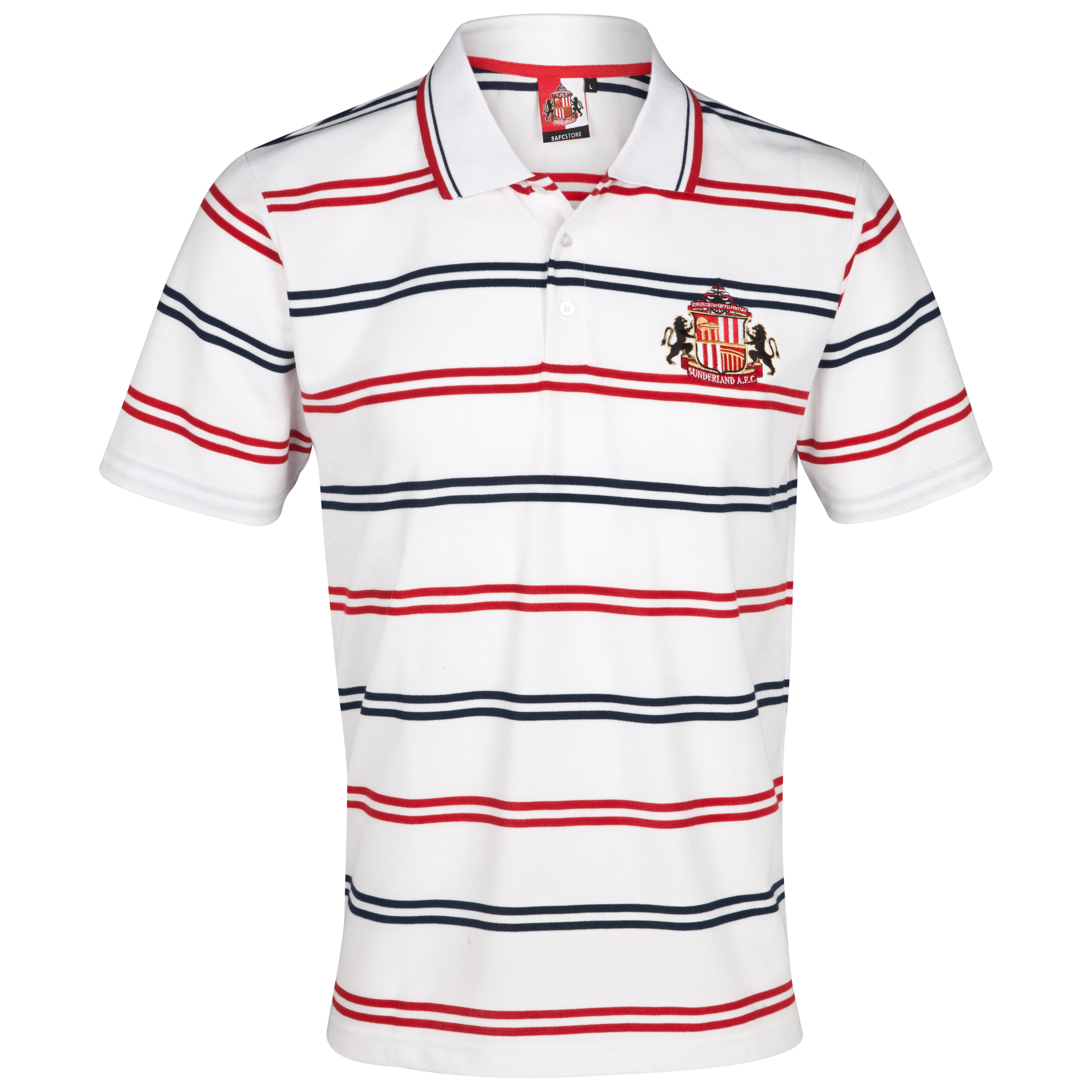 Sunderland Essential Volley Polo Top - White/Red/Navy - Older Boys