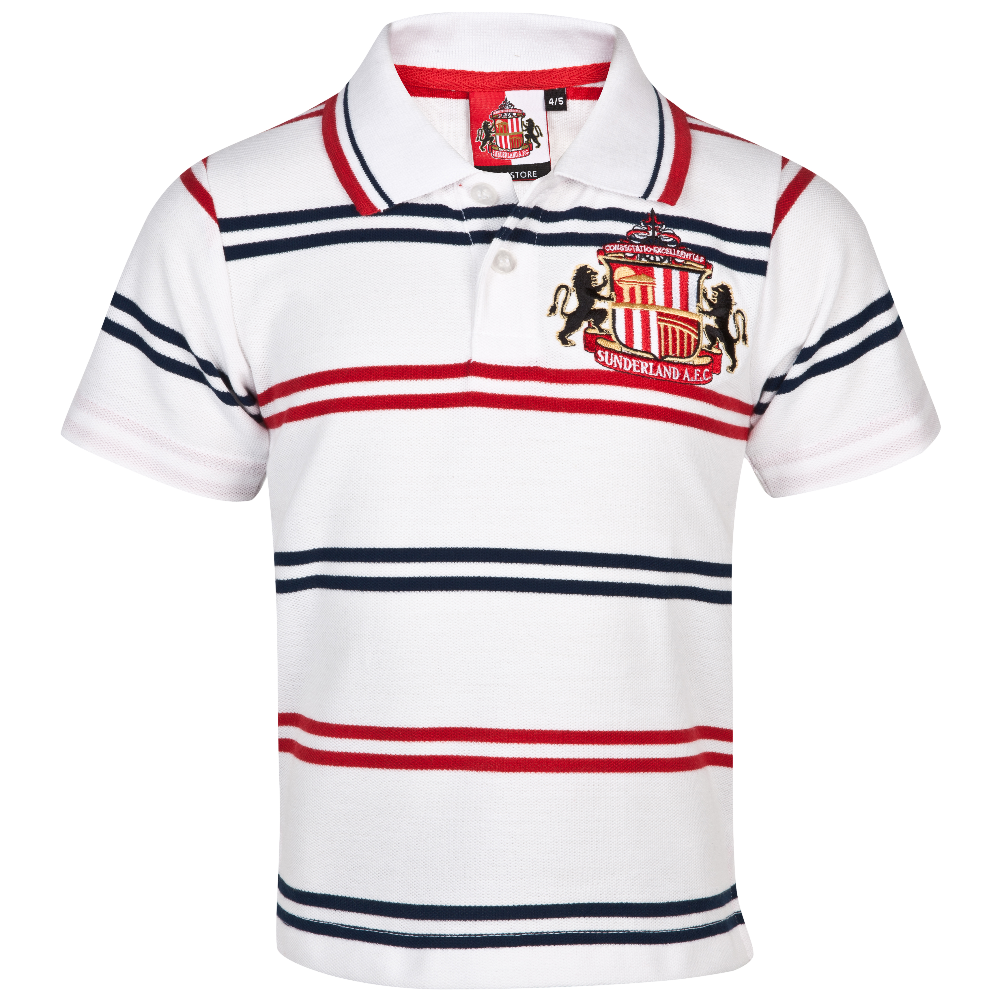 Sunderland Essential Volley Polo Top - White/Red/Navy - Infant Boys