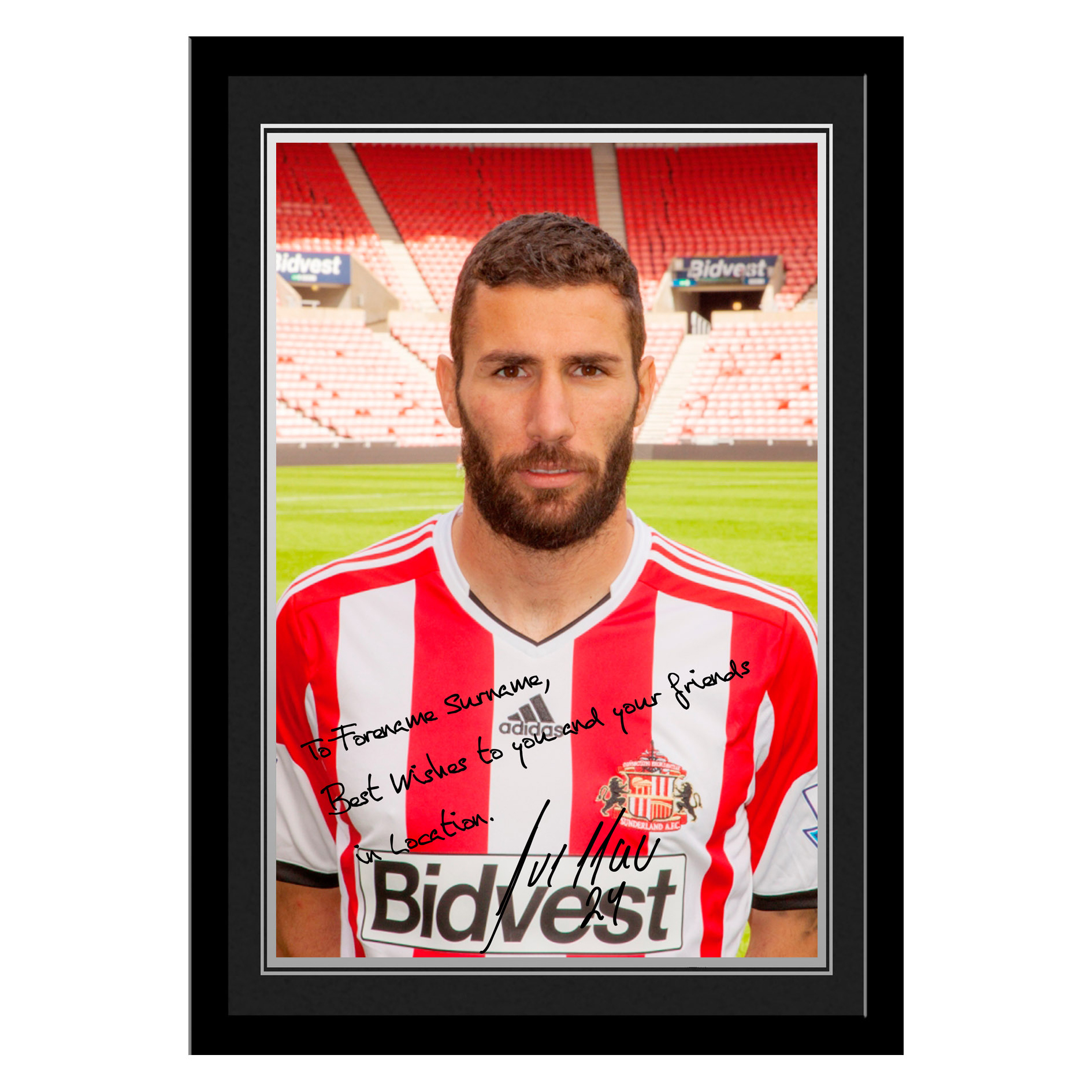 Sunderland Personalised Signature Photo Framed - Cuellar