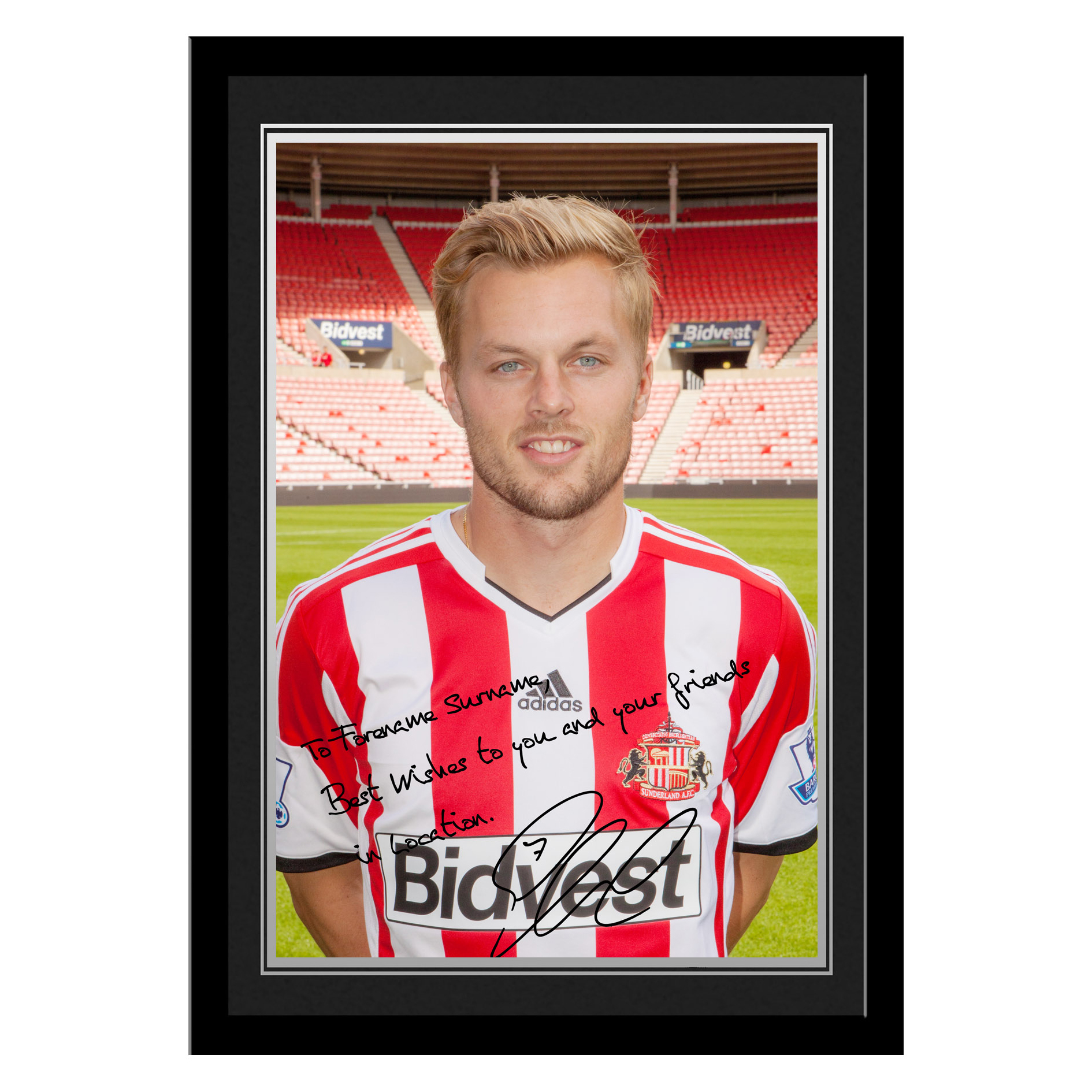 Sunderland Personalised Signature Photo Framed - Larsson