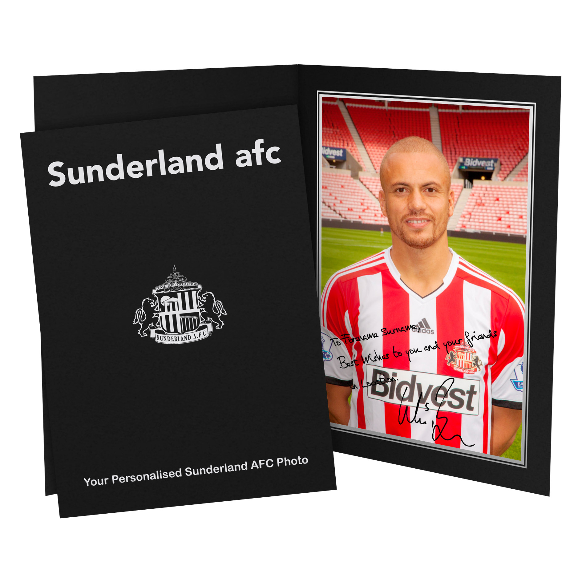 Sunderland Personalised Signature Photo in Presentation Folder - Brown