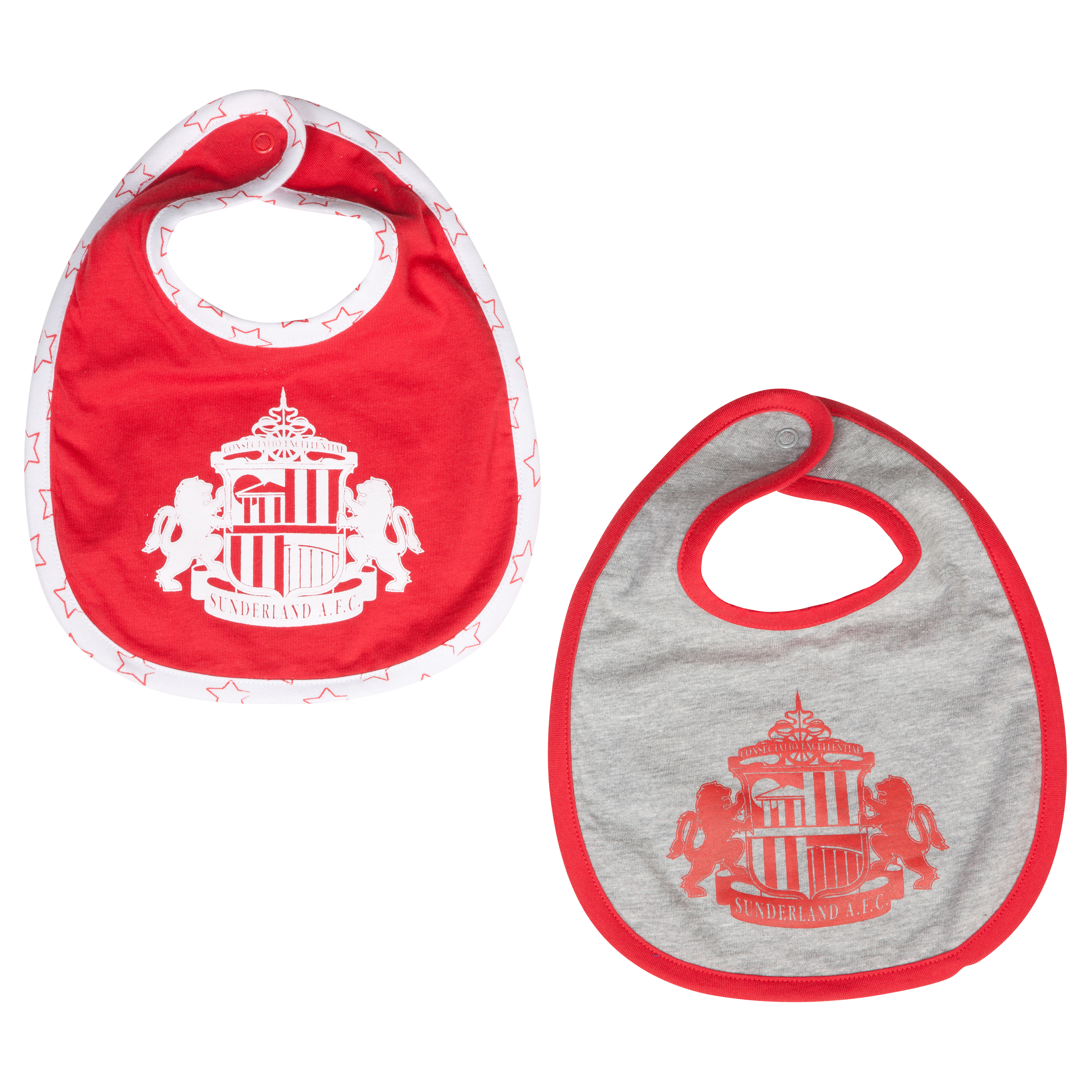 Sunderland Samson Pack of 2 Bibs - Red/White - Baby
