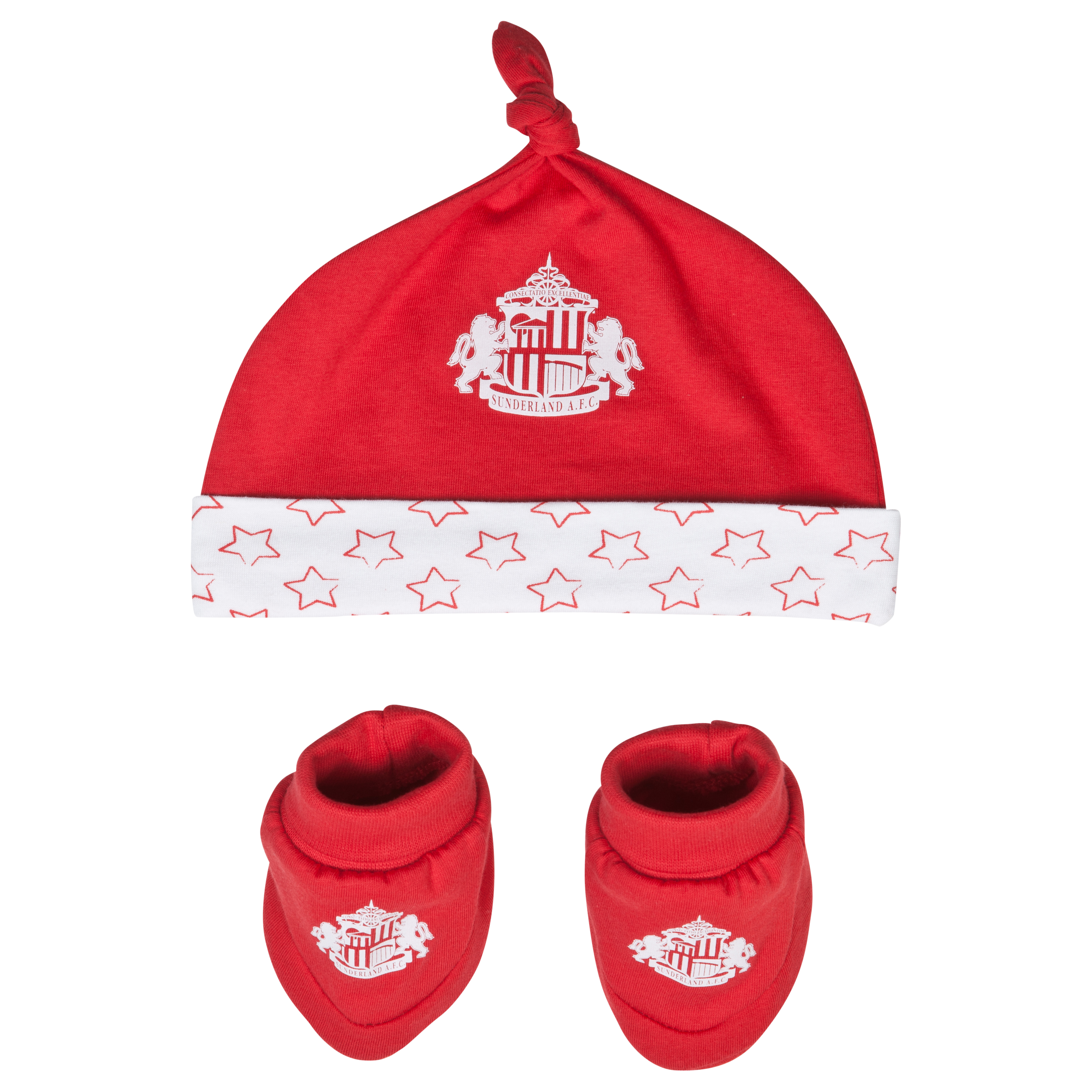 Sunderland Star Hat and Booties - Red/White - Baby